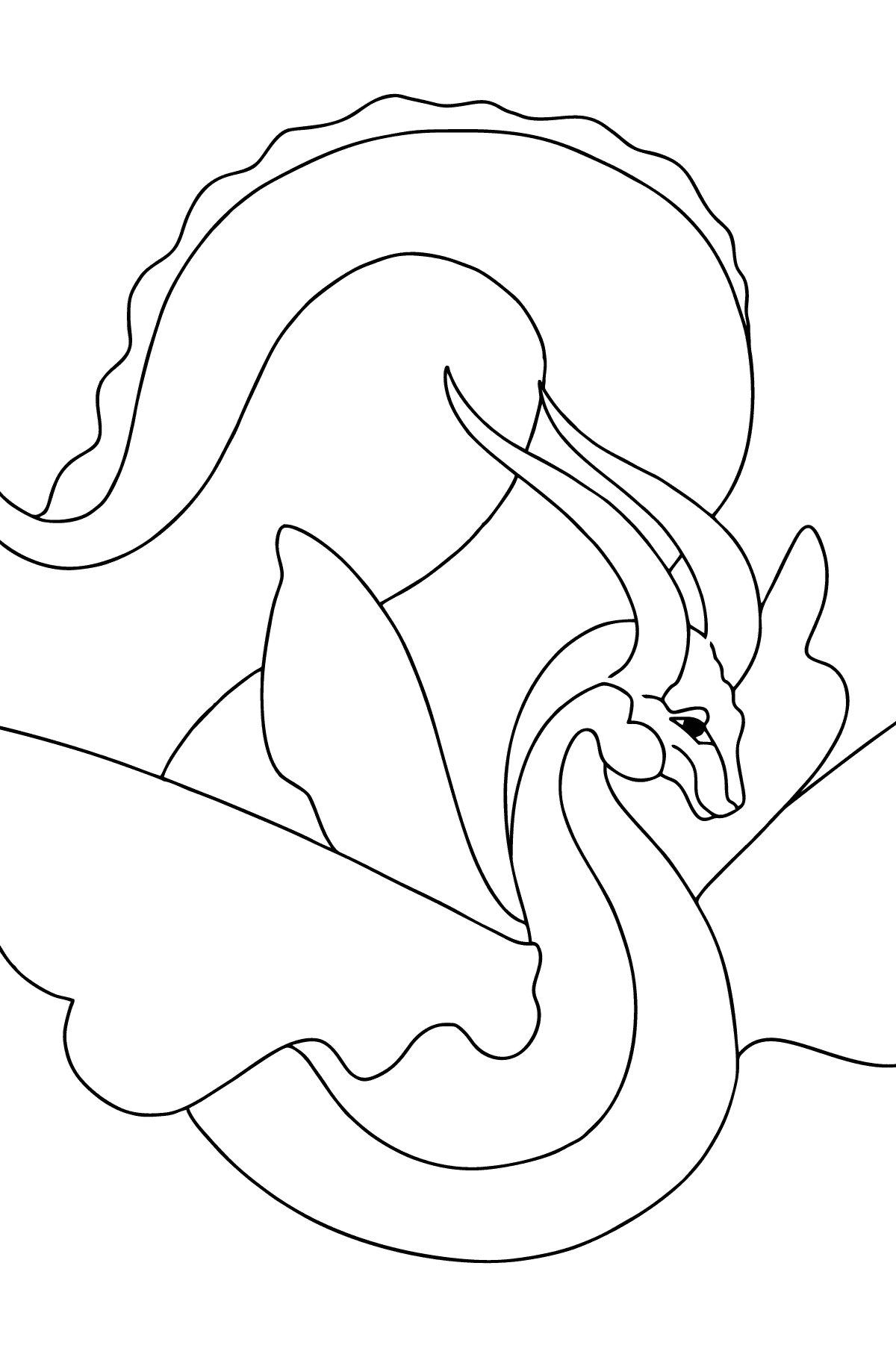 Coloring Page - A Dragon with an Orange Tail - Coloring Pages for Kids