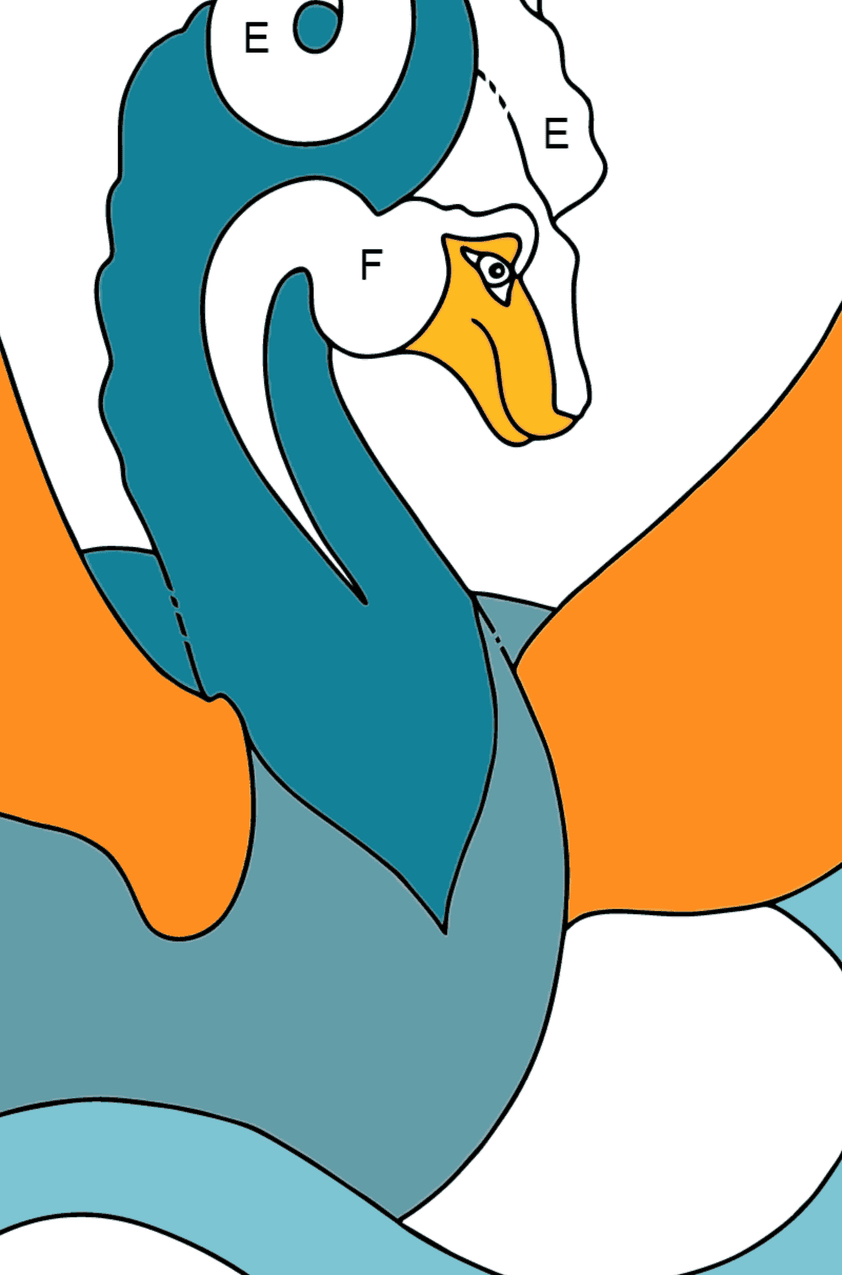 Coloring Page - A Dragon with Small Wings - Coloring by Letters for Kids