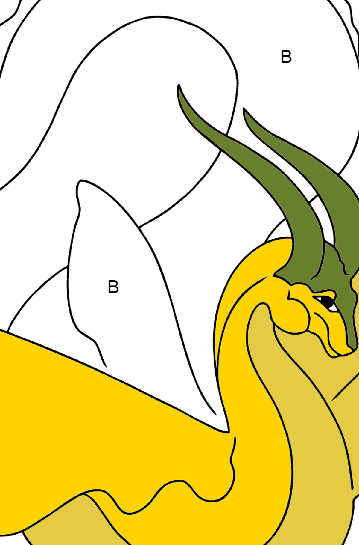 Coloring Page - A Dragon with Yellow Wings - Coloring by Letters for Children