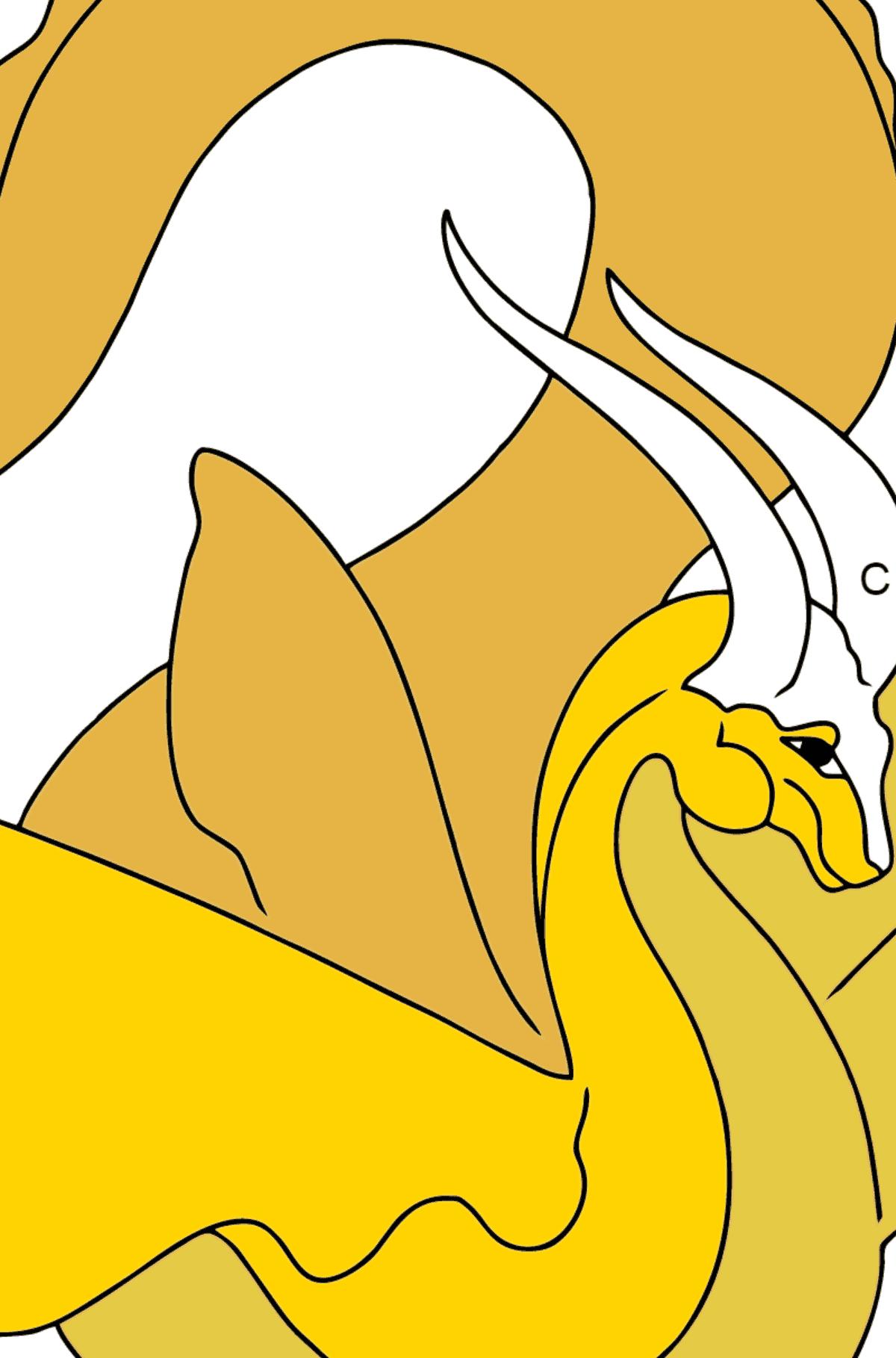 Página para Colorear - Un Dragón con Alas Amarillas - Colorear por Letras para Niños