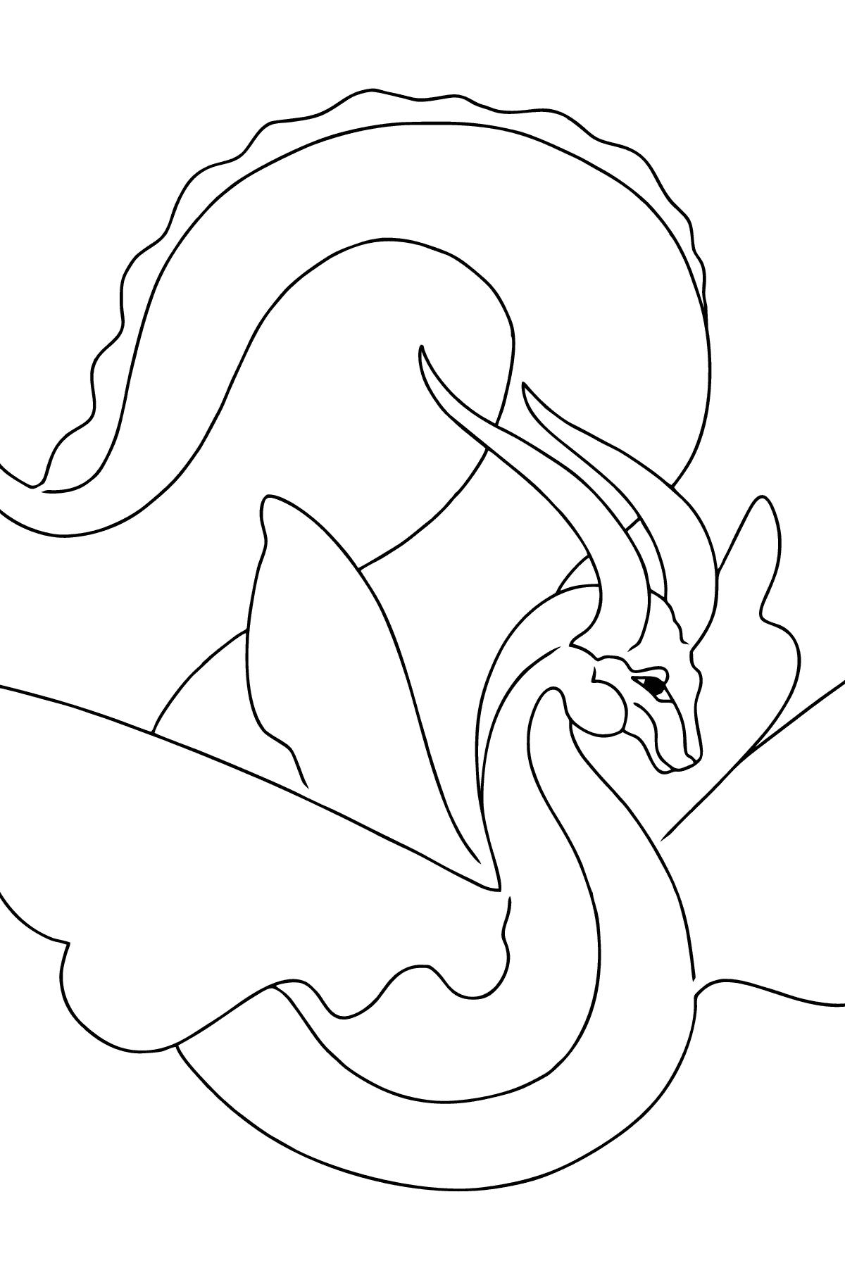 Простая Раскраска Дракон с крыльями - Картинки для Детей