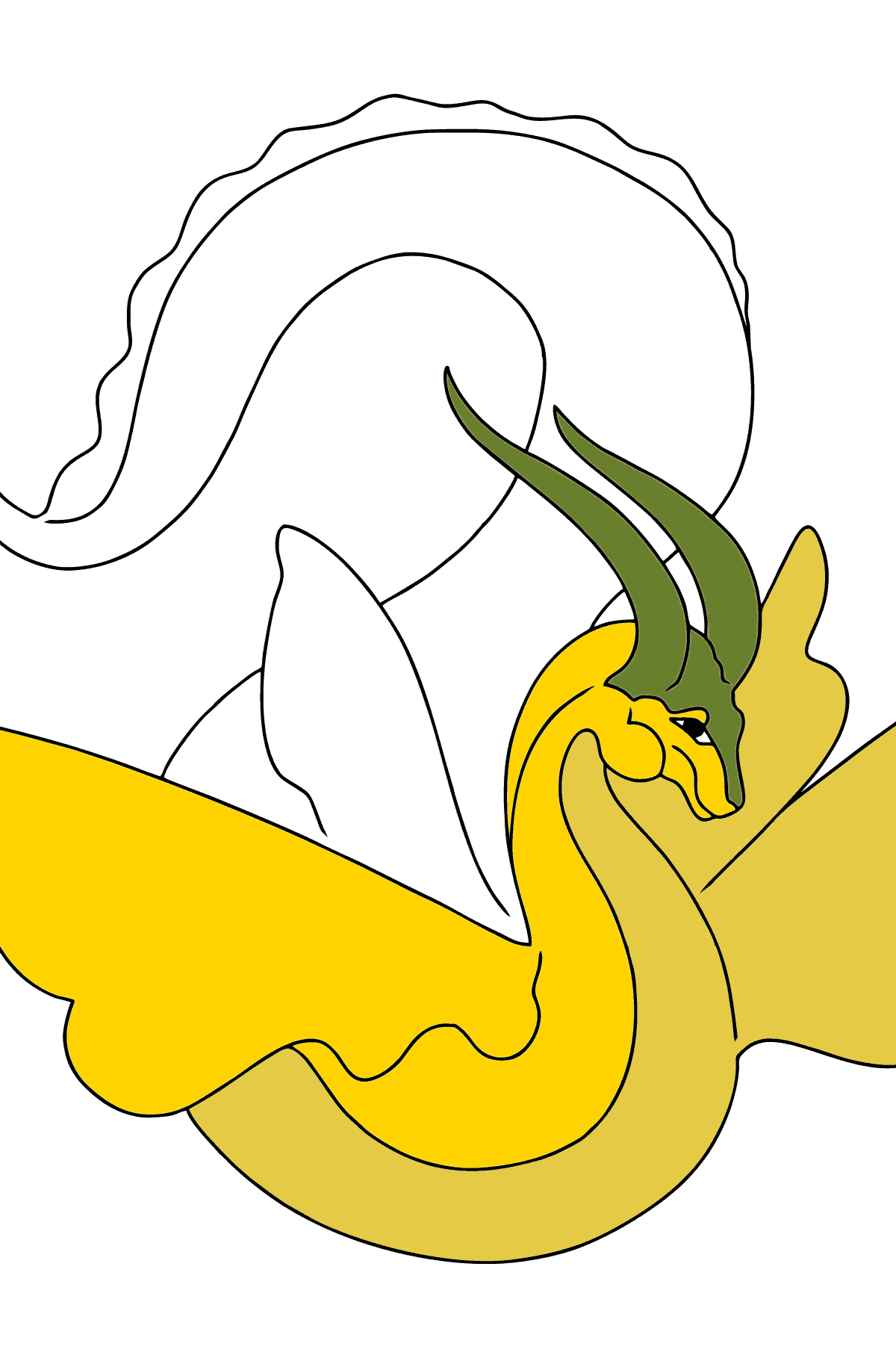 Coloring Page - A Dragon with Yellow Wings - Coloring Pages for Children