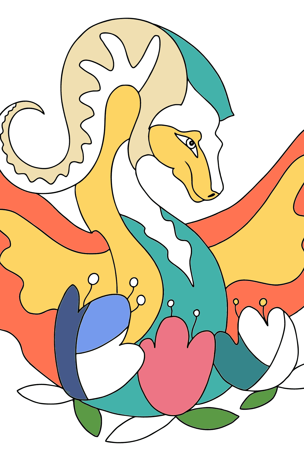 Coloring Page - A Rainbow Dragon - Coloring Pages for Children