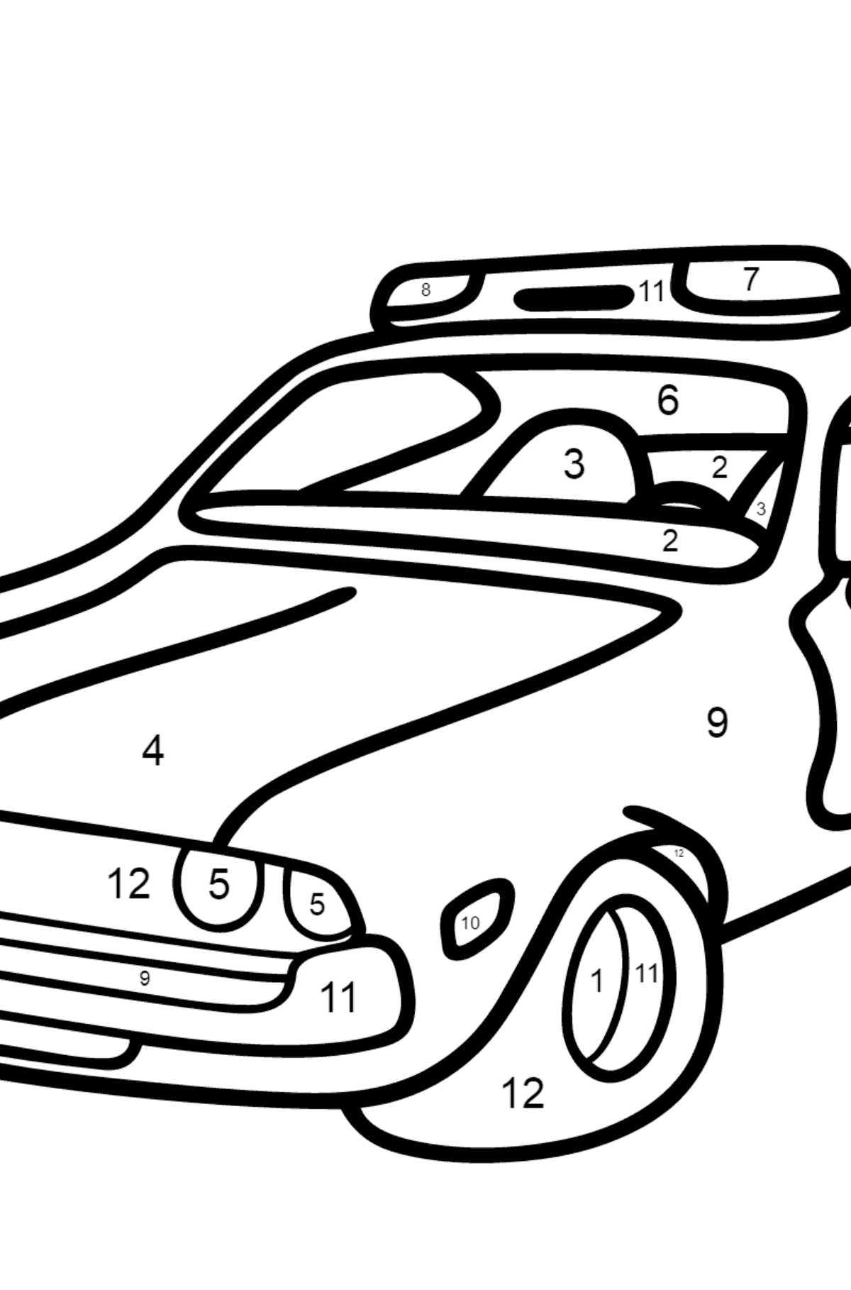 Coloring Page - A Dark Gray Police Car for Children  - Color by Number