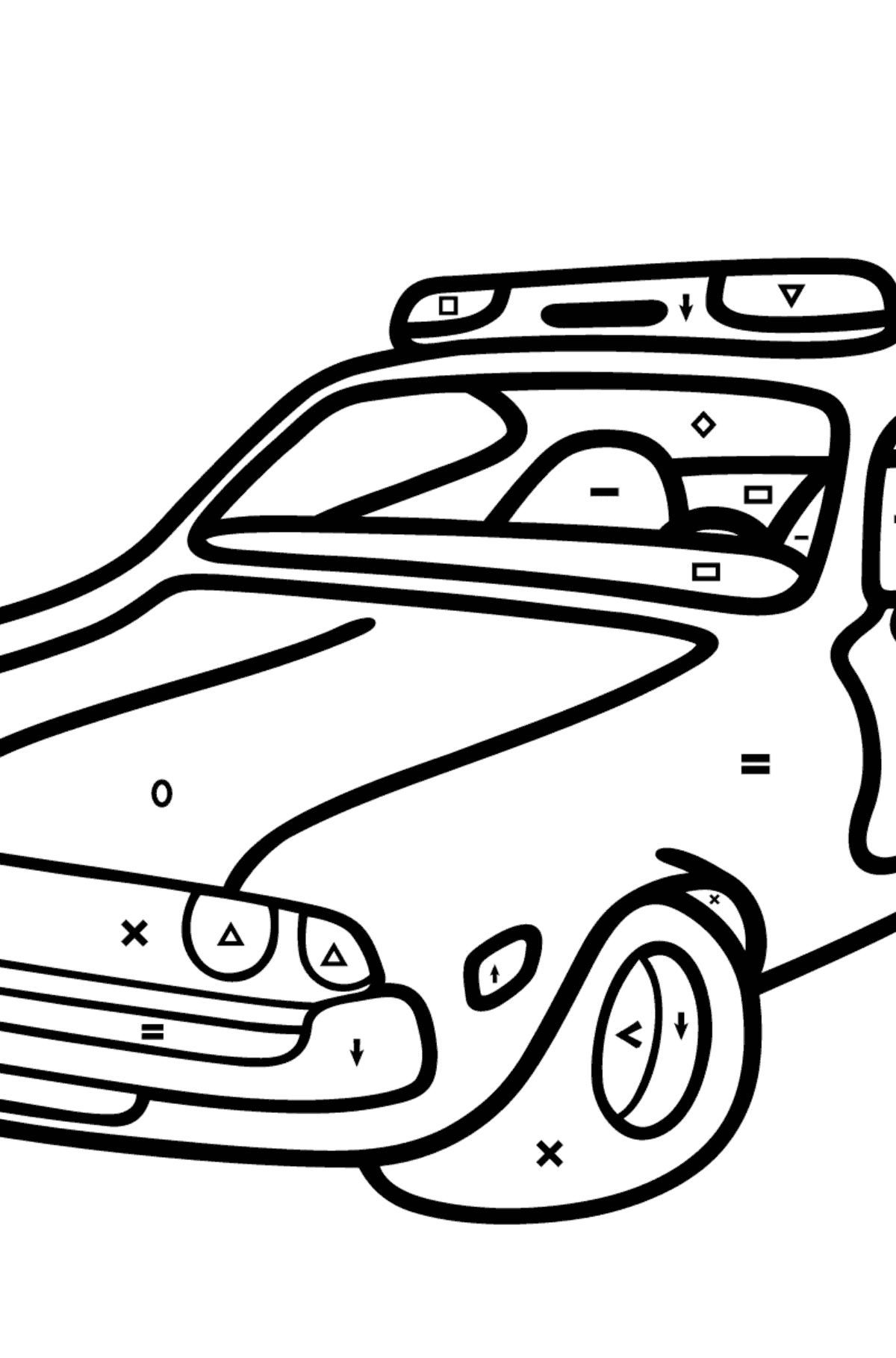 Coloring Page - A Dark Gray Police Car for Kids  - Color by Symbols and Geometric Shapes