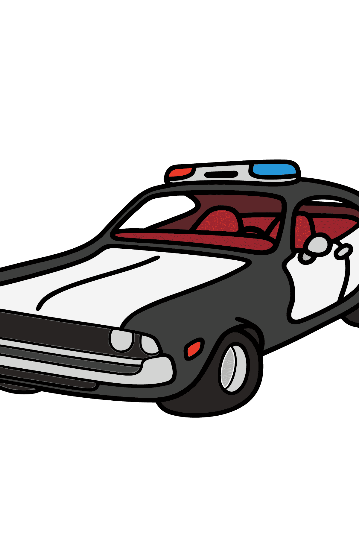 Coloring Page - A Dark Gray Police Car for Children