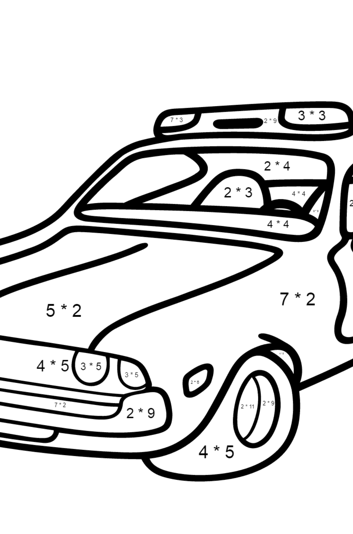 Coloring Page - A Dark Gray Police Car for Kids  - Color by Number Multiplication