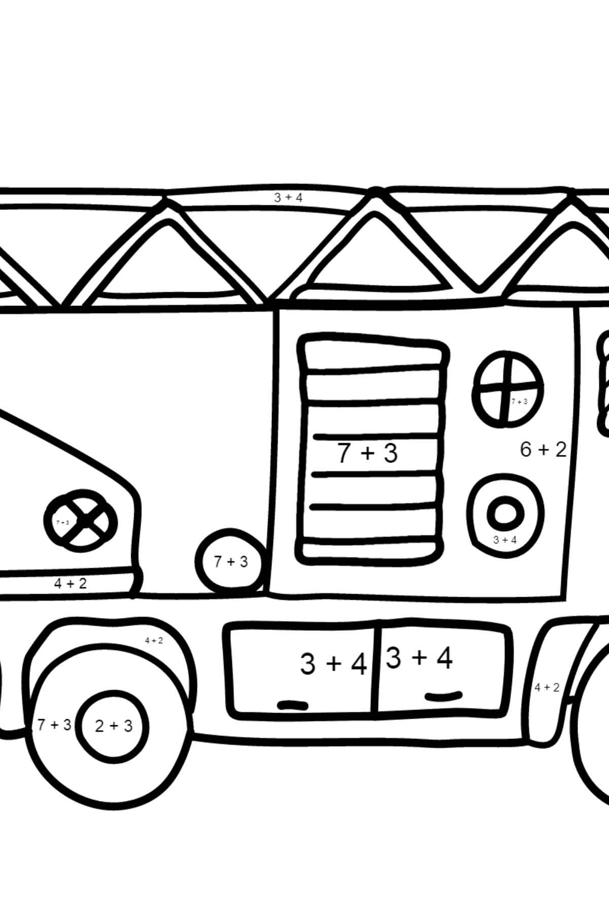 Coloring Page - A Fire Truck for Kids  - Color by Number Addition