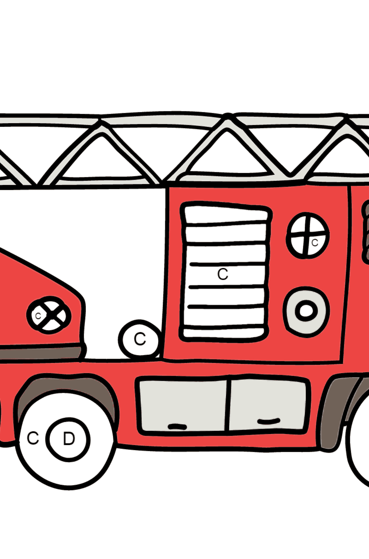 Coloring Page - A Fire Truck for Children  - Color by Letters