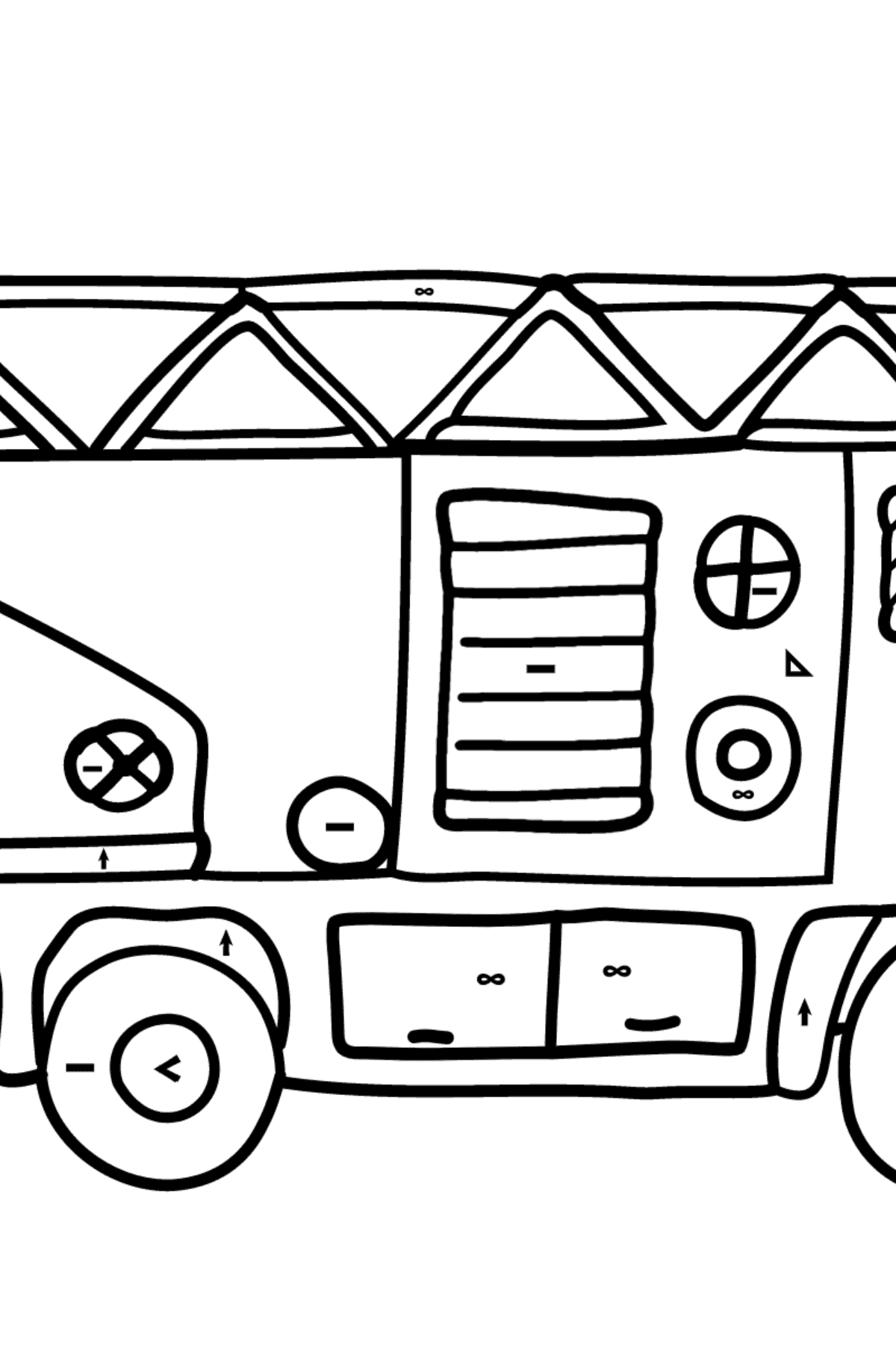 Coloring Page - A Fire Truck for Children  - Color by Symbols and Geometric Shapes