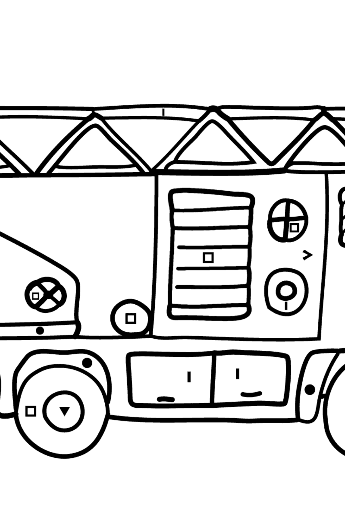 Coloring Page - A Fire Truck for Children  - Color by Special Symbols
