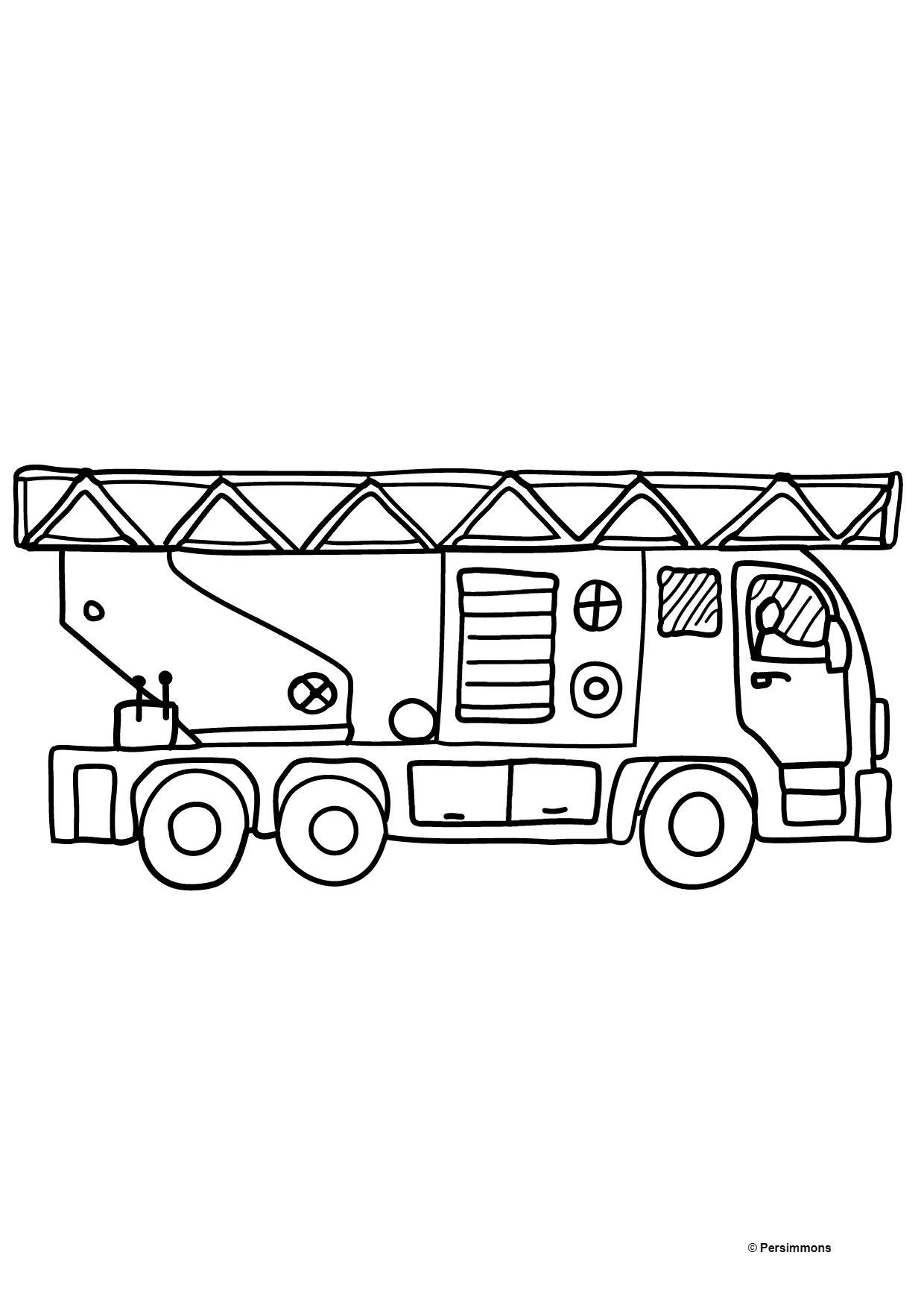 Coloring Page - A Fire Truck for Children