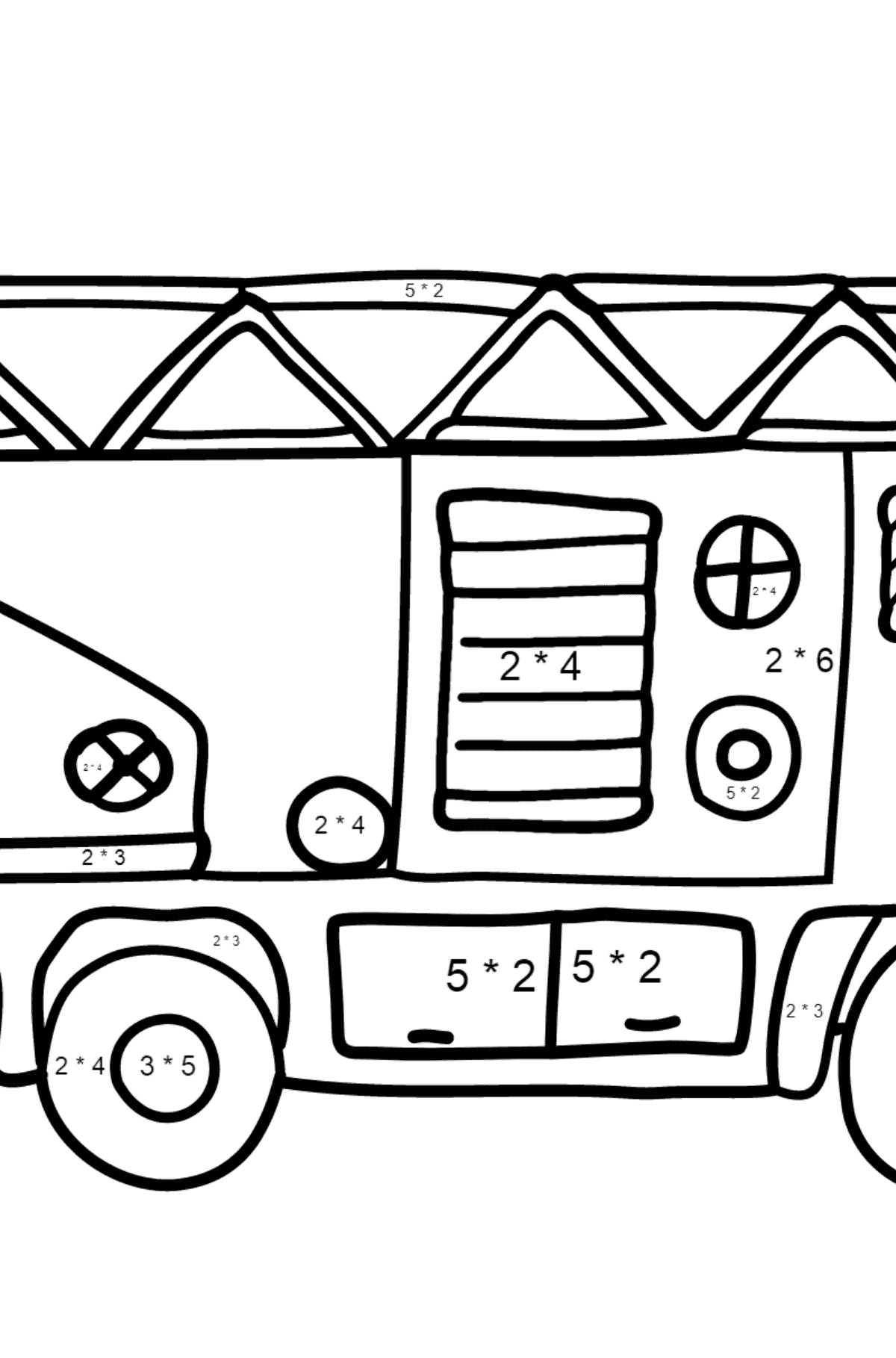 Coloring Page - A Fire Truck for Children  - Color by Number Multiplication