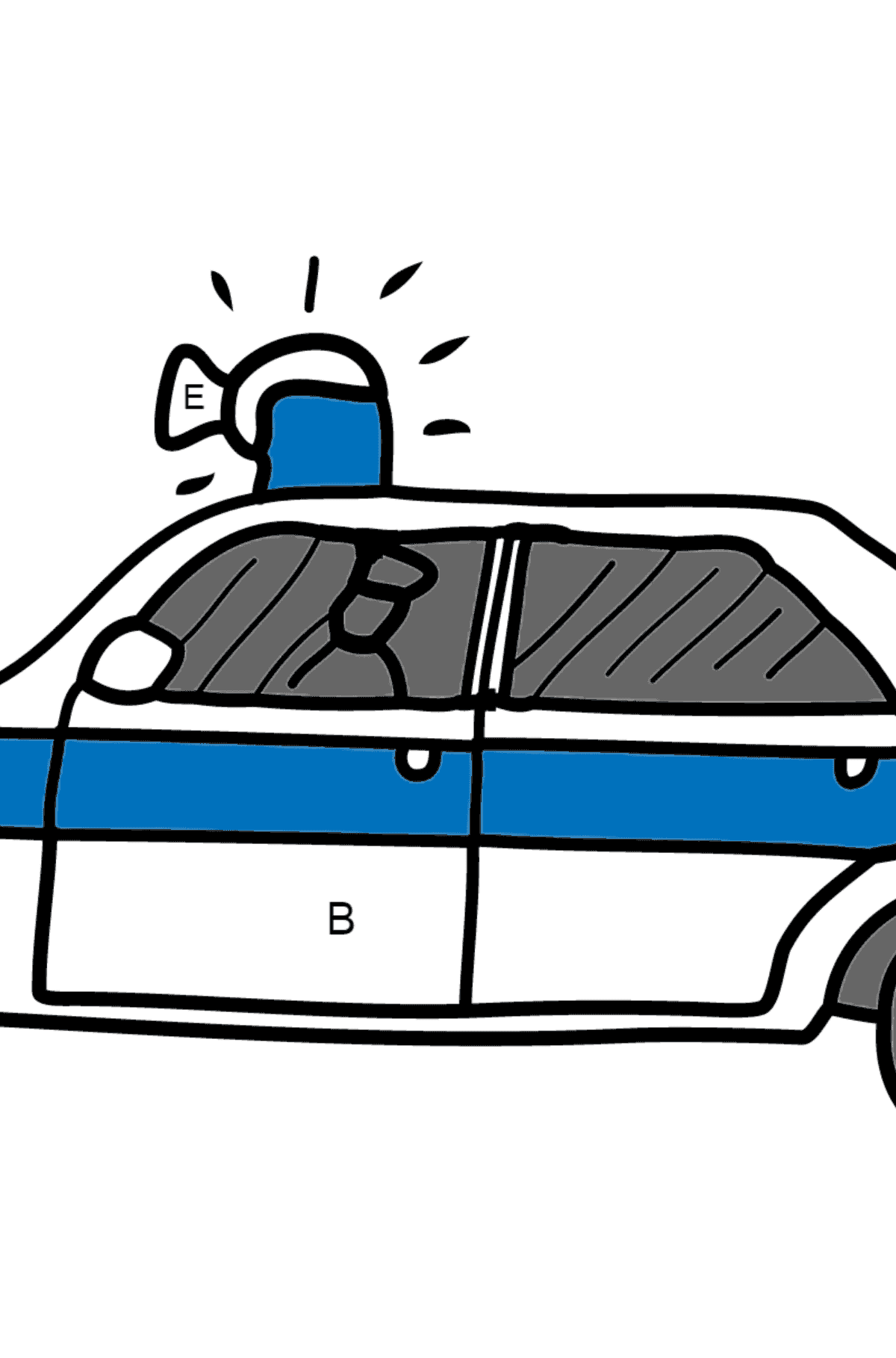 Coloring Page - A Police Car for Children  - Color by Letters