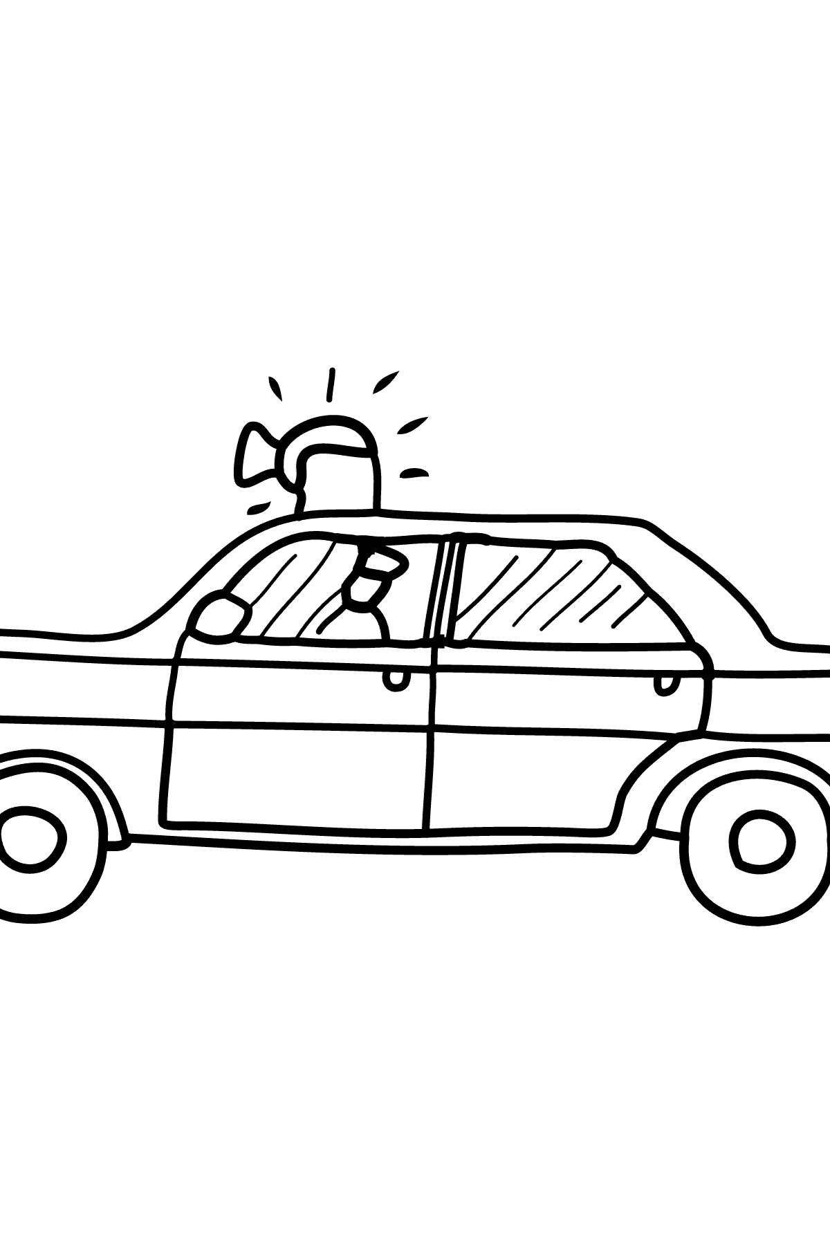 Coloring Page - A Police Car for Kids