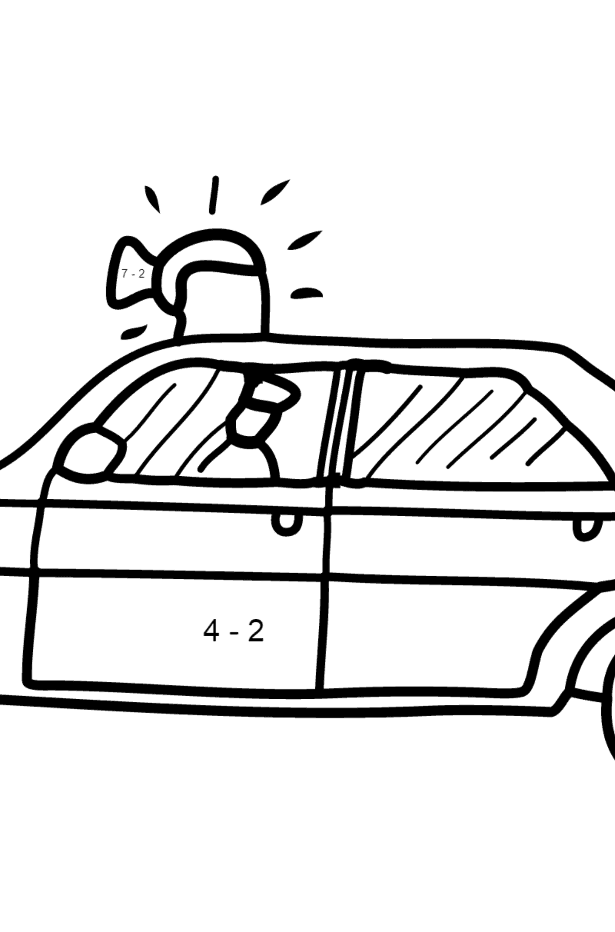 Coloring Page - A Police Car for Children  - Color by Number Substraction