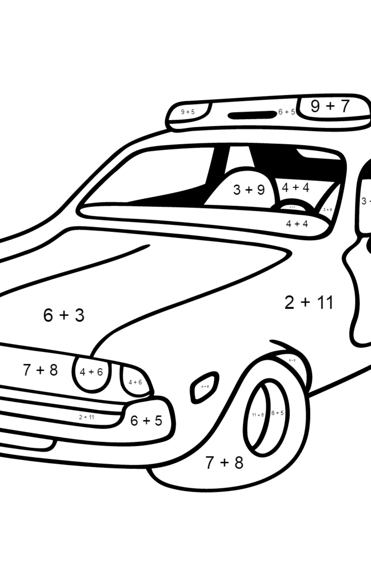 Coloring Page - A Red and White Police Car for Children  - Color by Number Addition