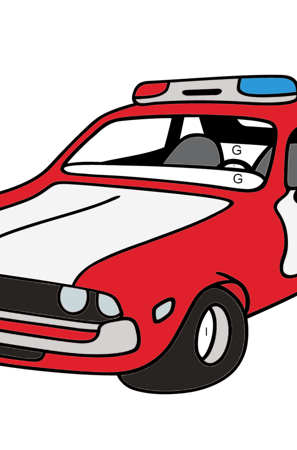 Coloring Page - A Red and White Police Car for Kids  - Color by Letters
