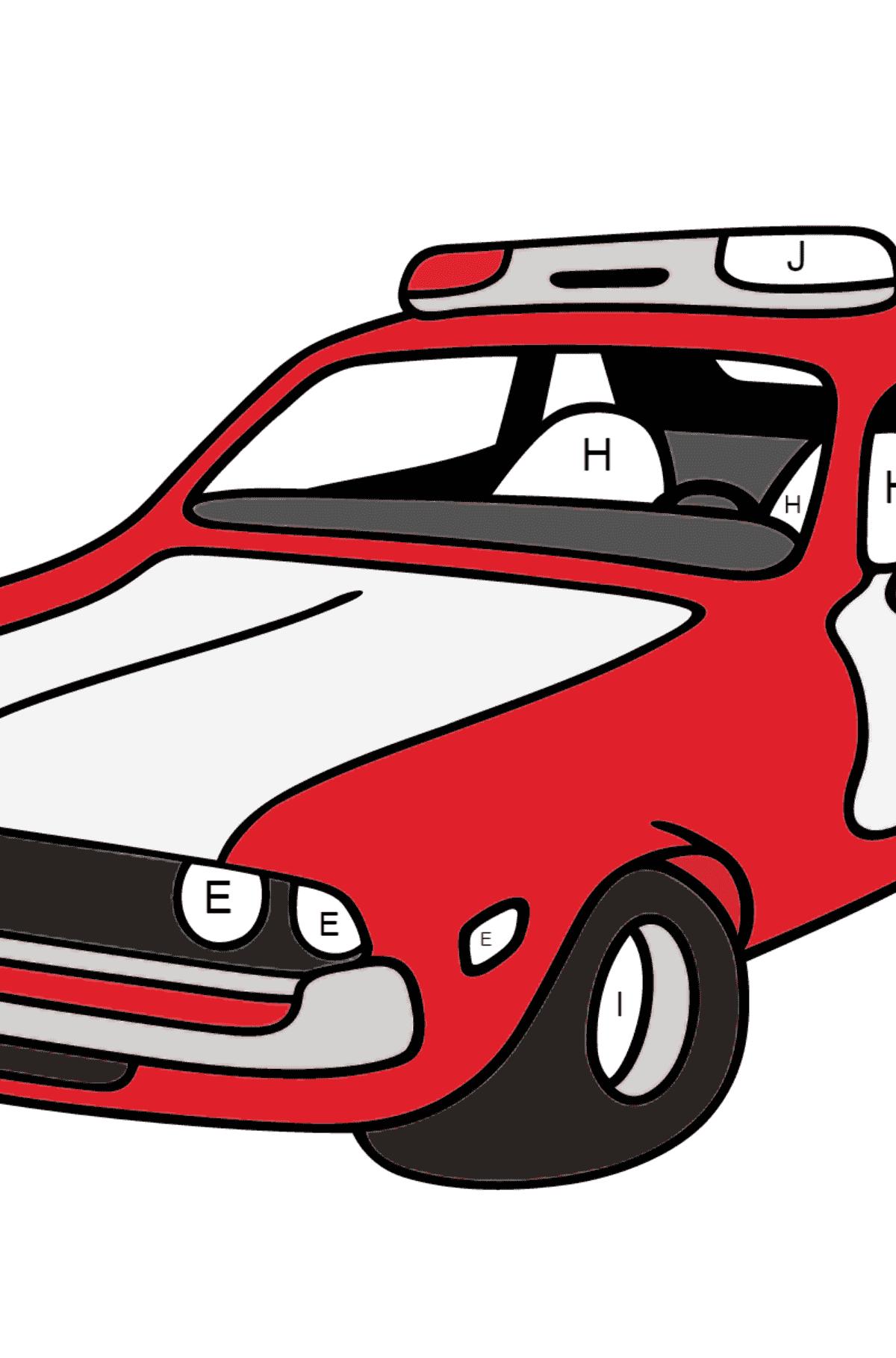 Desenho para colorir - um carro de polícia vermelho e branco