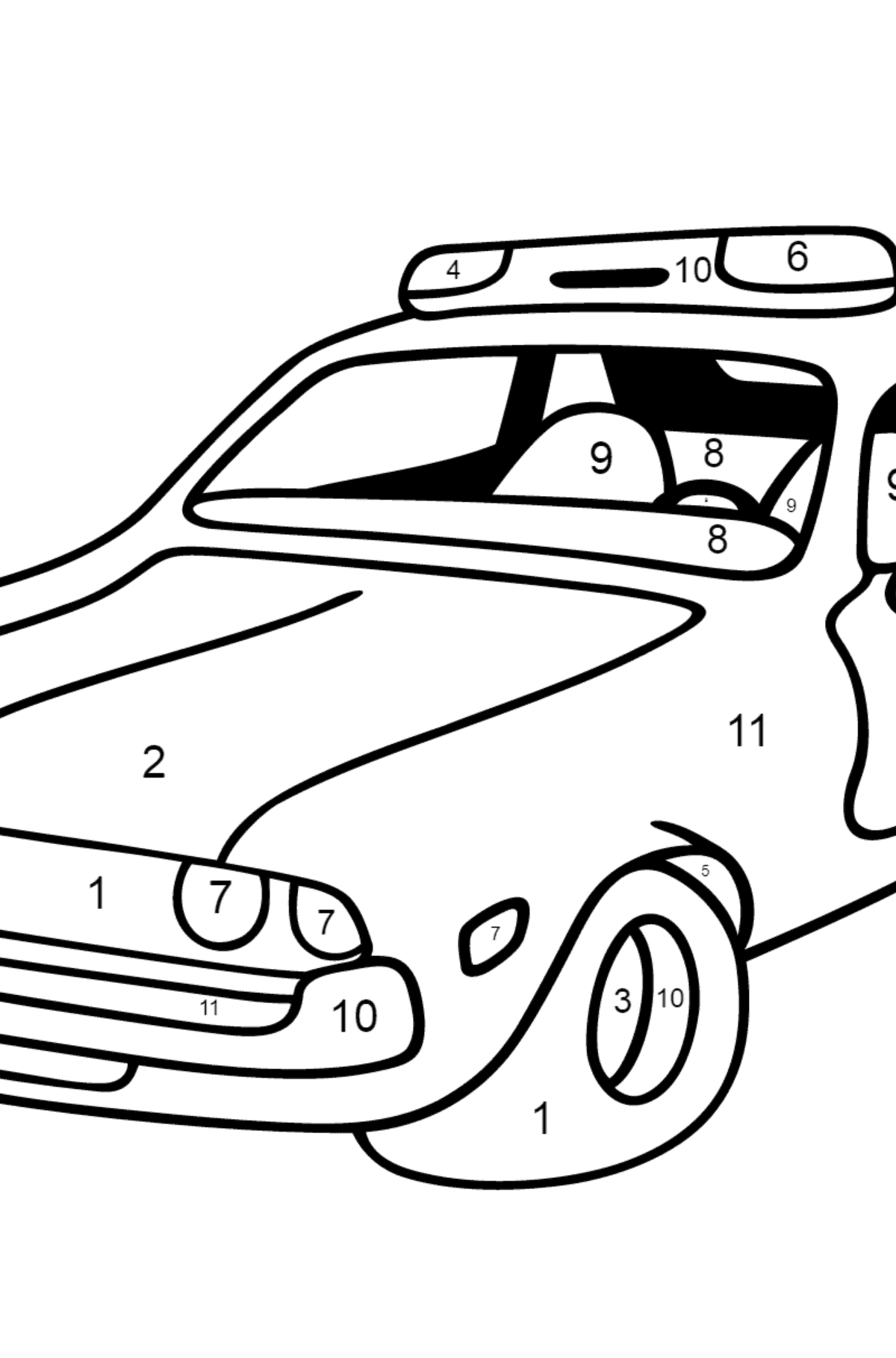 Coloring Page - A Red and White Police Car for Children  - Color by Number
