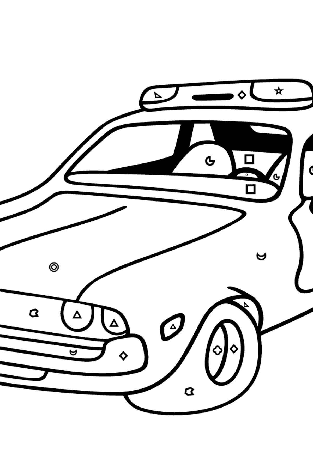 Coloring Page - A Red and White Police Car for Children  - Color by Geometric Shapes