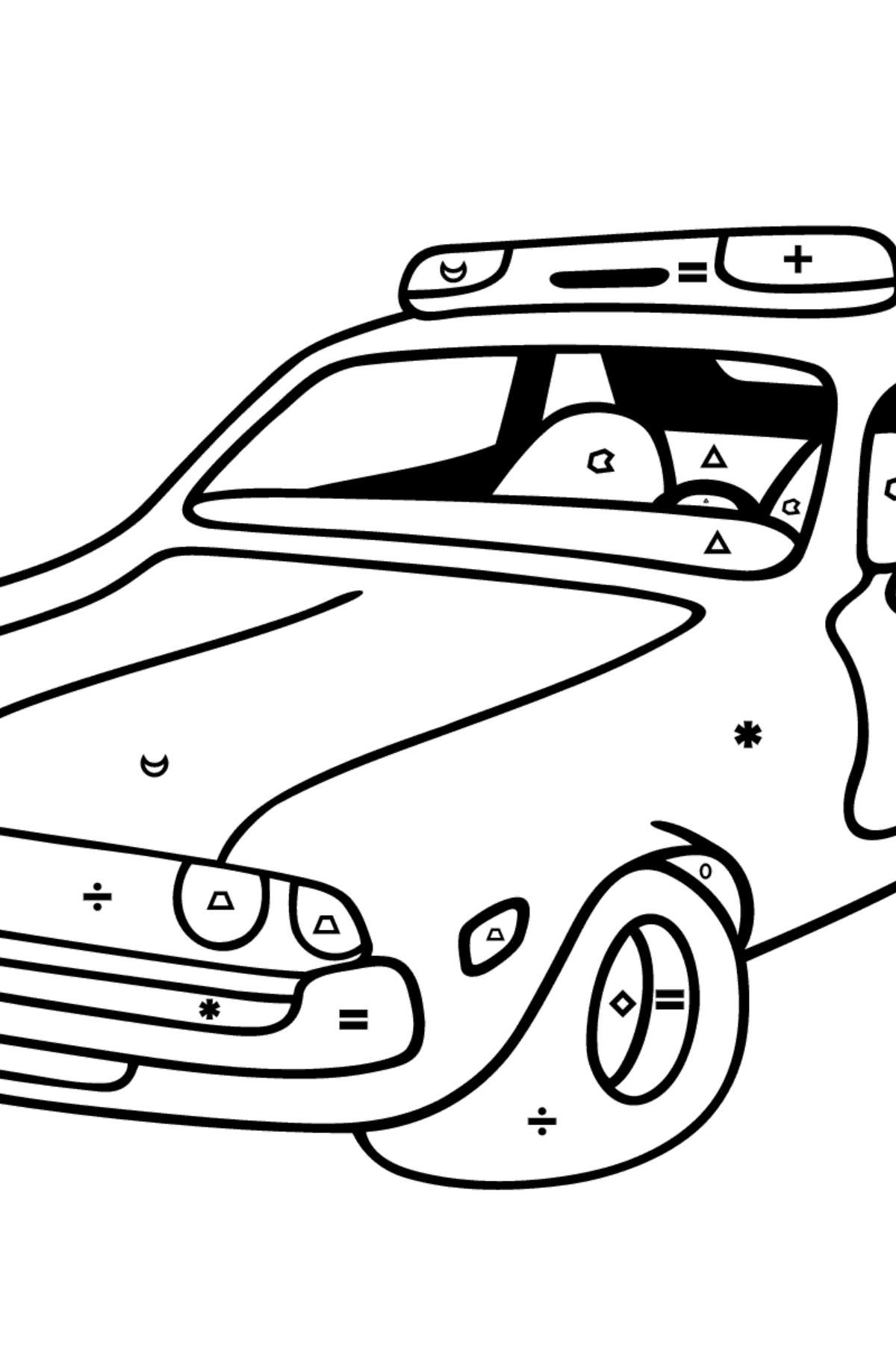 Coloring Page - A Red and White Police Car for Children  - Color by Symbols and Geometric Shapes