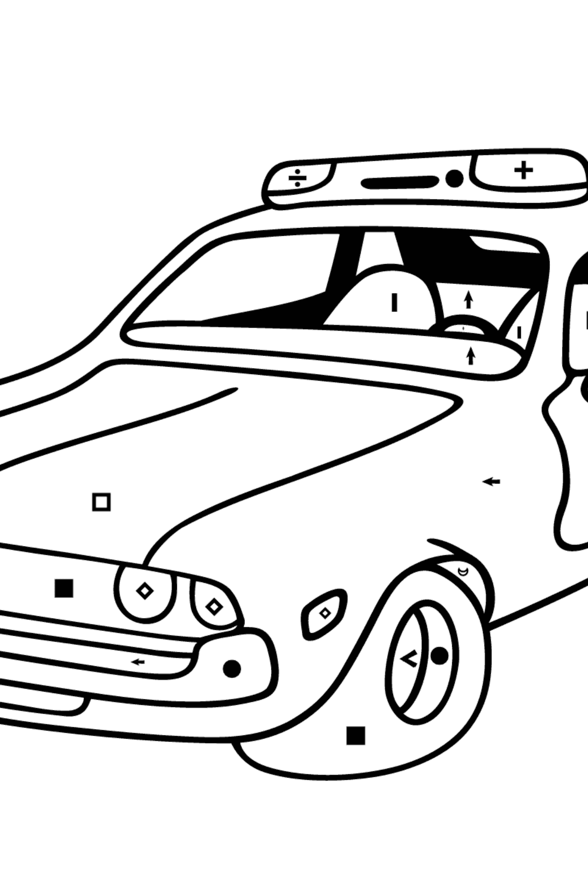 Coloring Page - A Red and White Police Car for Children  - Color by Special Symbols