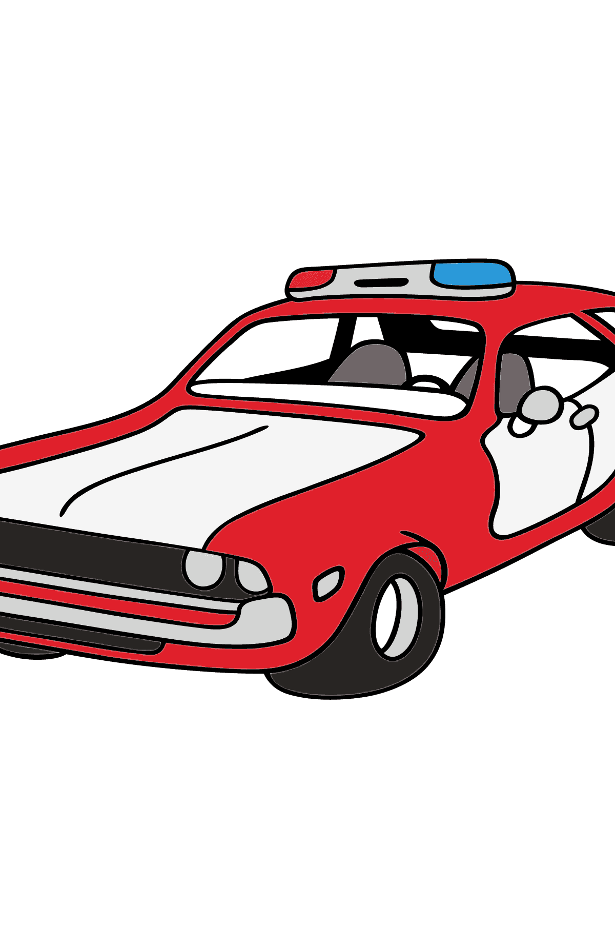 Coloring Page - A Red and White Police Car for Children