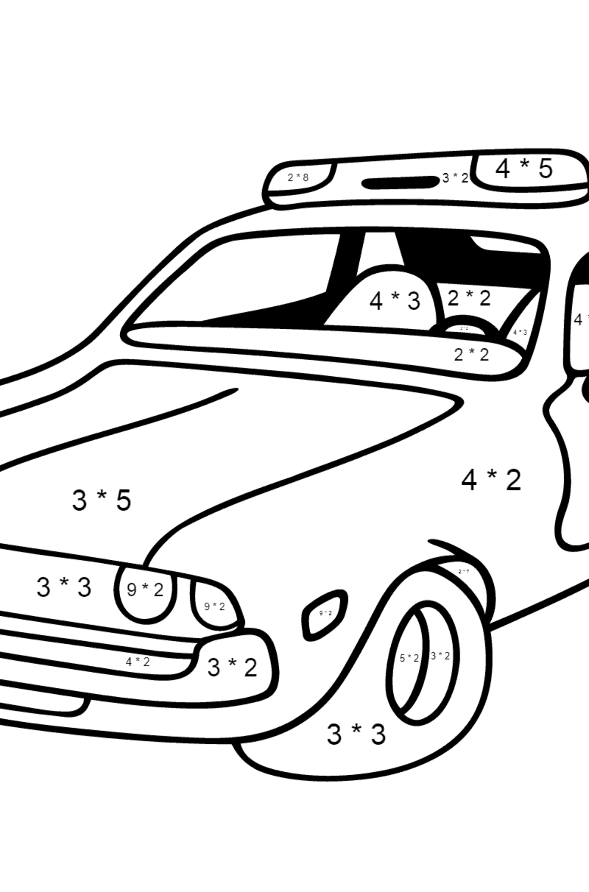 Coloring Page - A Red and White Police Car for Kids  - Color by Number Multiplication