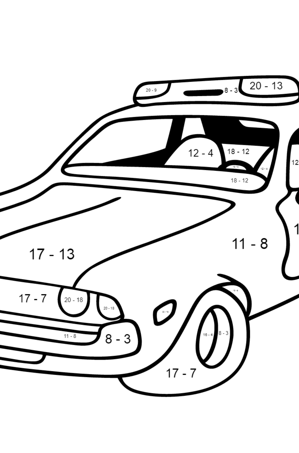 Coloring Page - A Red and White Police Car for Children  - Color by Number Substraction