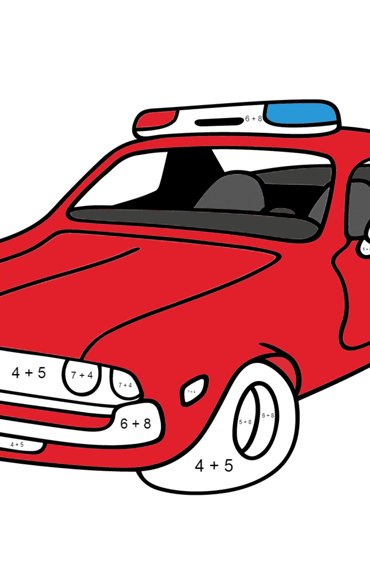 Página para Colorear - Una Patrulla de Policía Roja