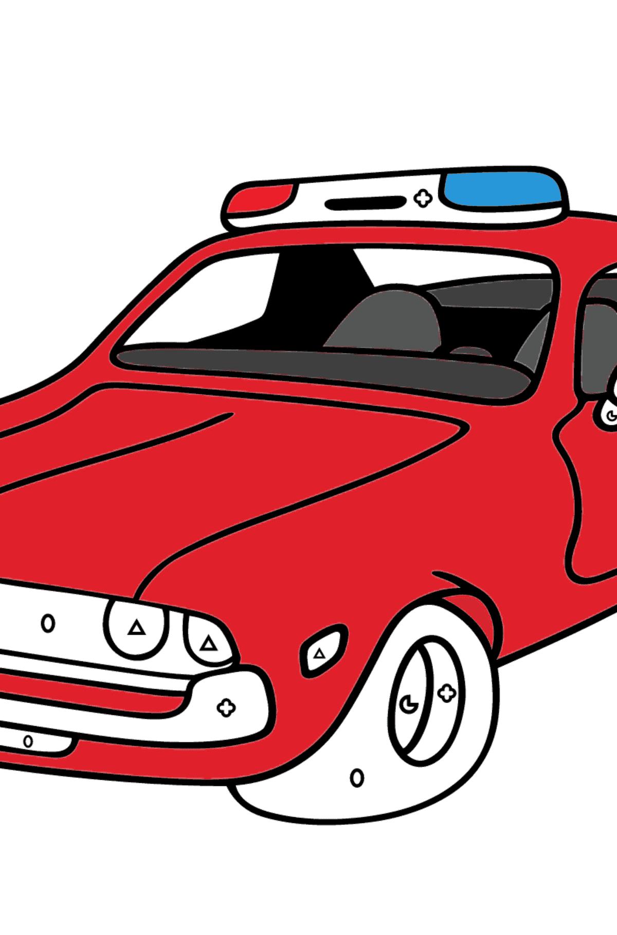 Ausmalseite - Ein rotes Polizeiauto