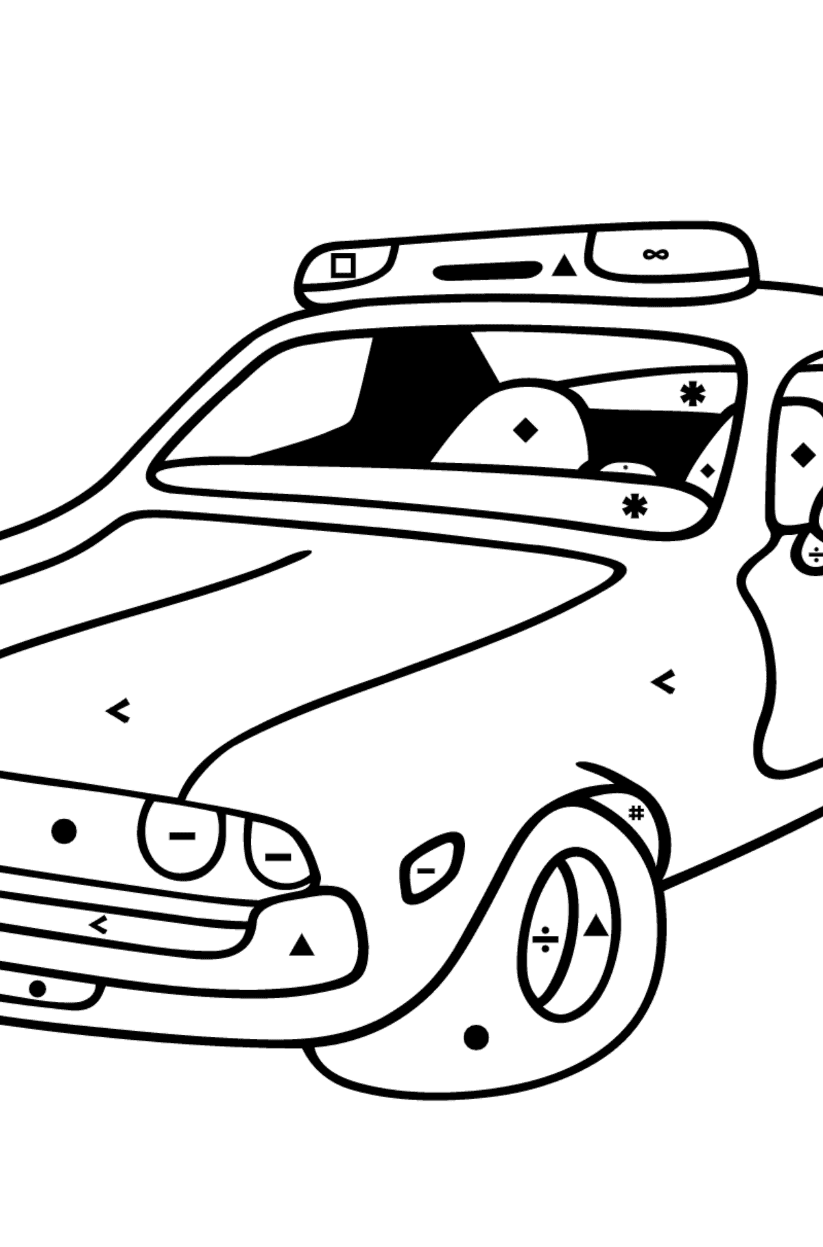 Coloring Page - A Red Police Car for Kids  - Color by Special Symbols