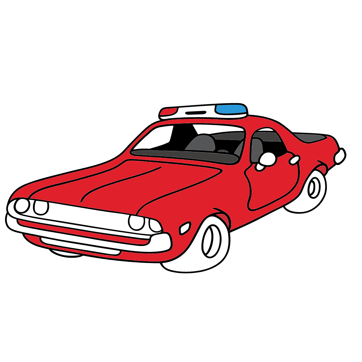 Coloring Page - A Red Police Car