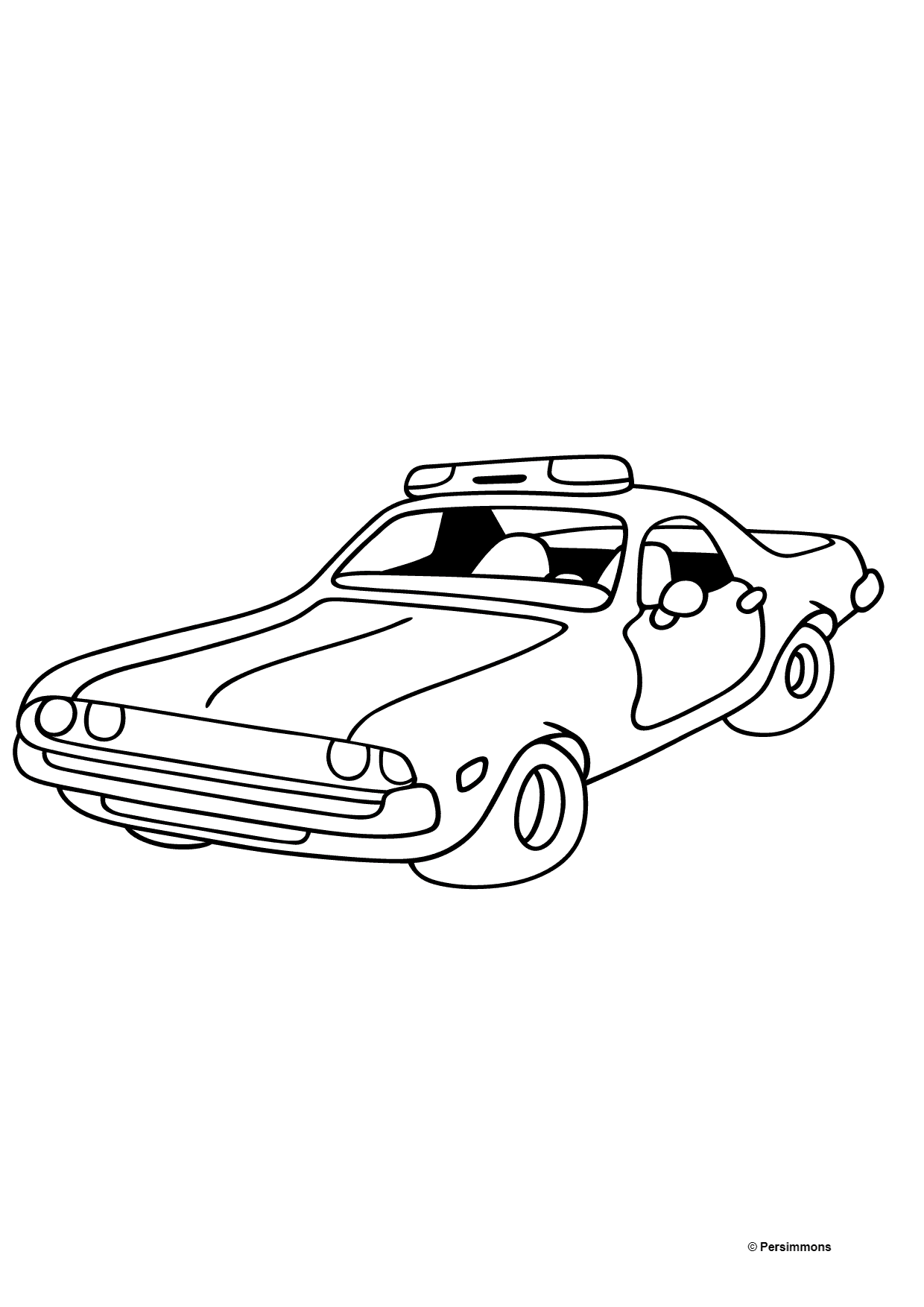 Coloring Page - A Red Police Car for Children