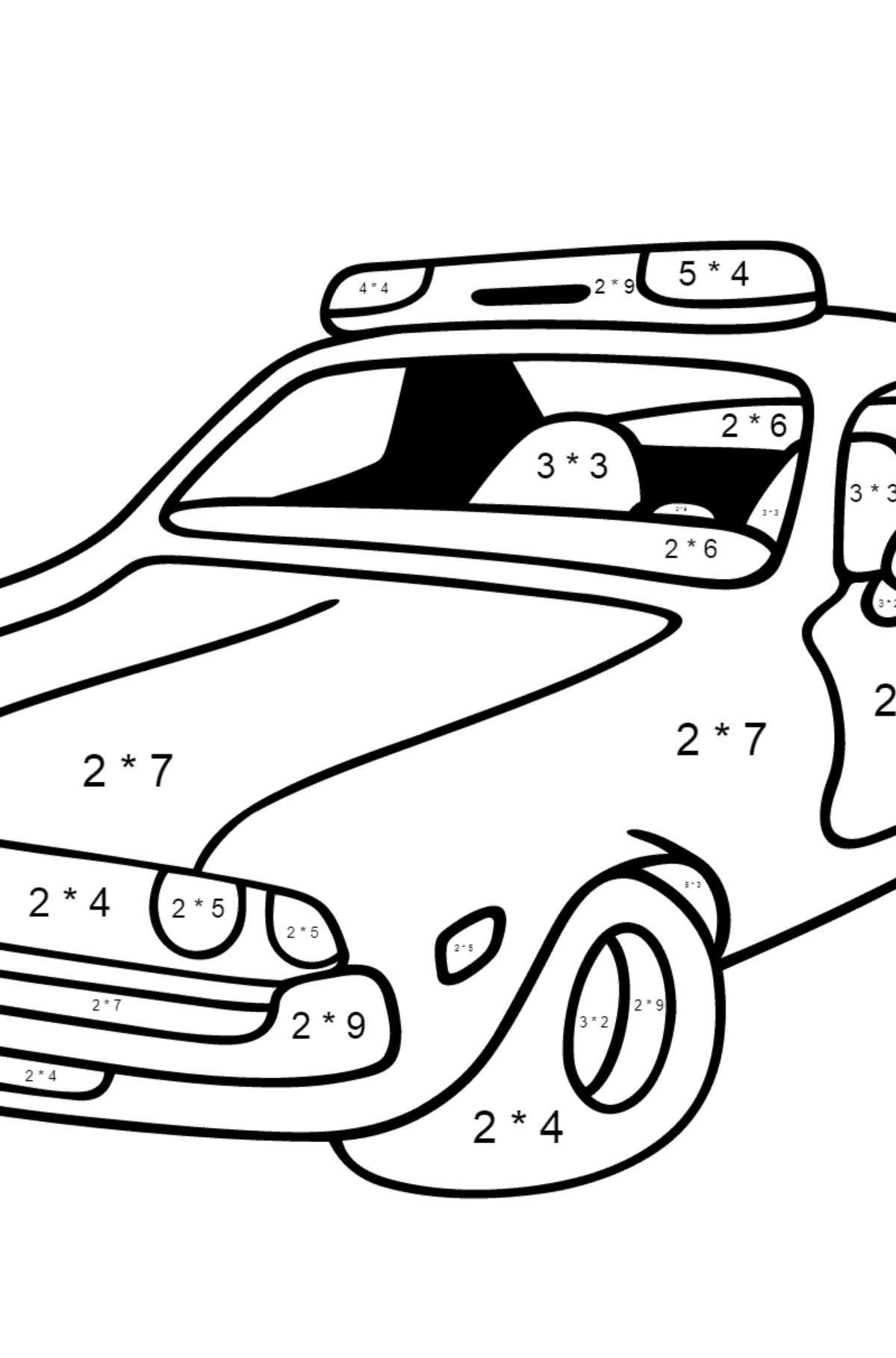 Coloring Page - A Red Police Car for Children  - Color by Number Multiplication
