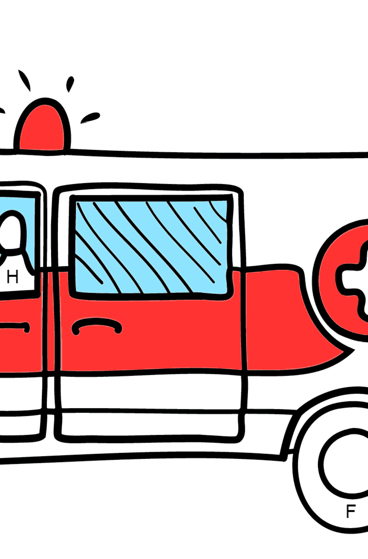 Coloring Page - An Ambulance for Kids  - Color by Letters