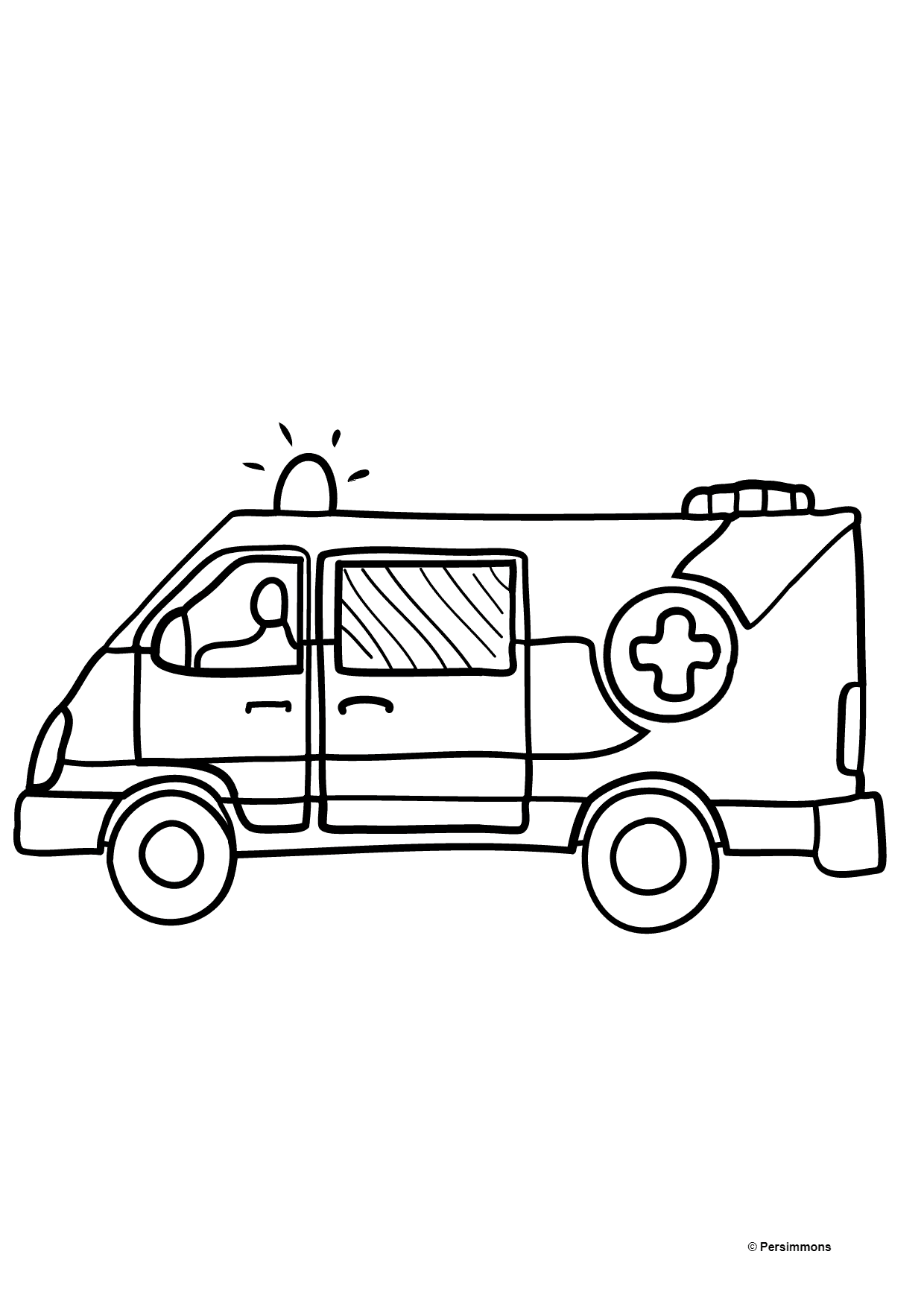 Coloring Page - An Ambulance for Kids