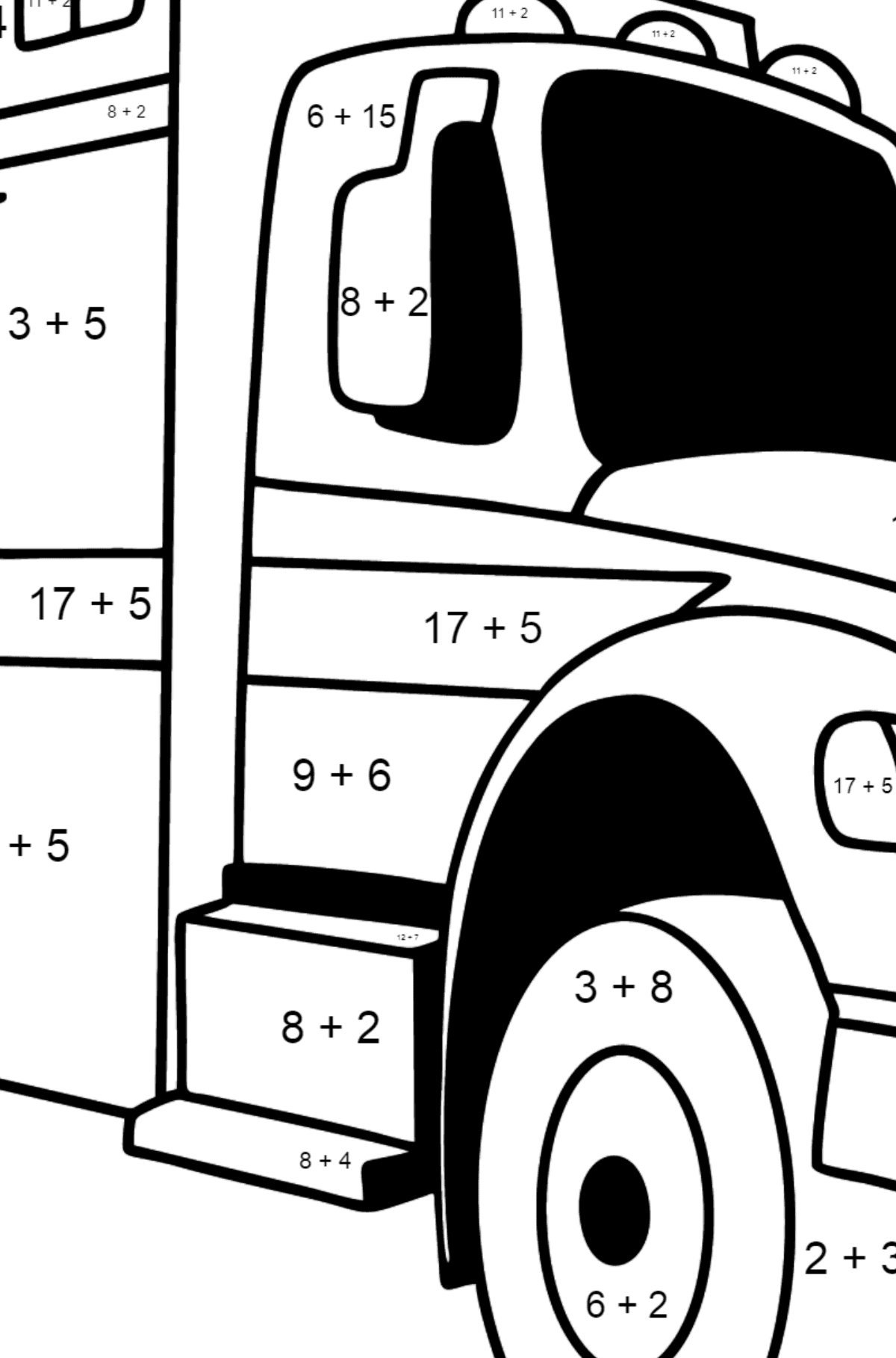 Fire Truck in Argentina coloring page - Math Coloring - Addition for Kids