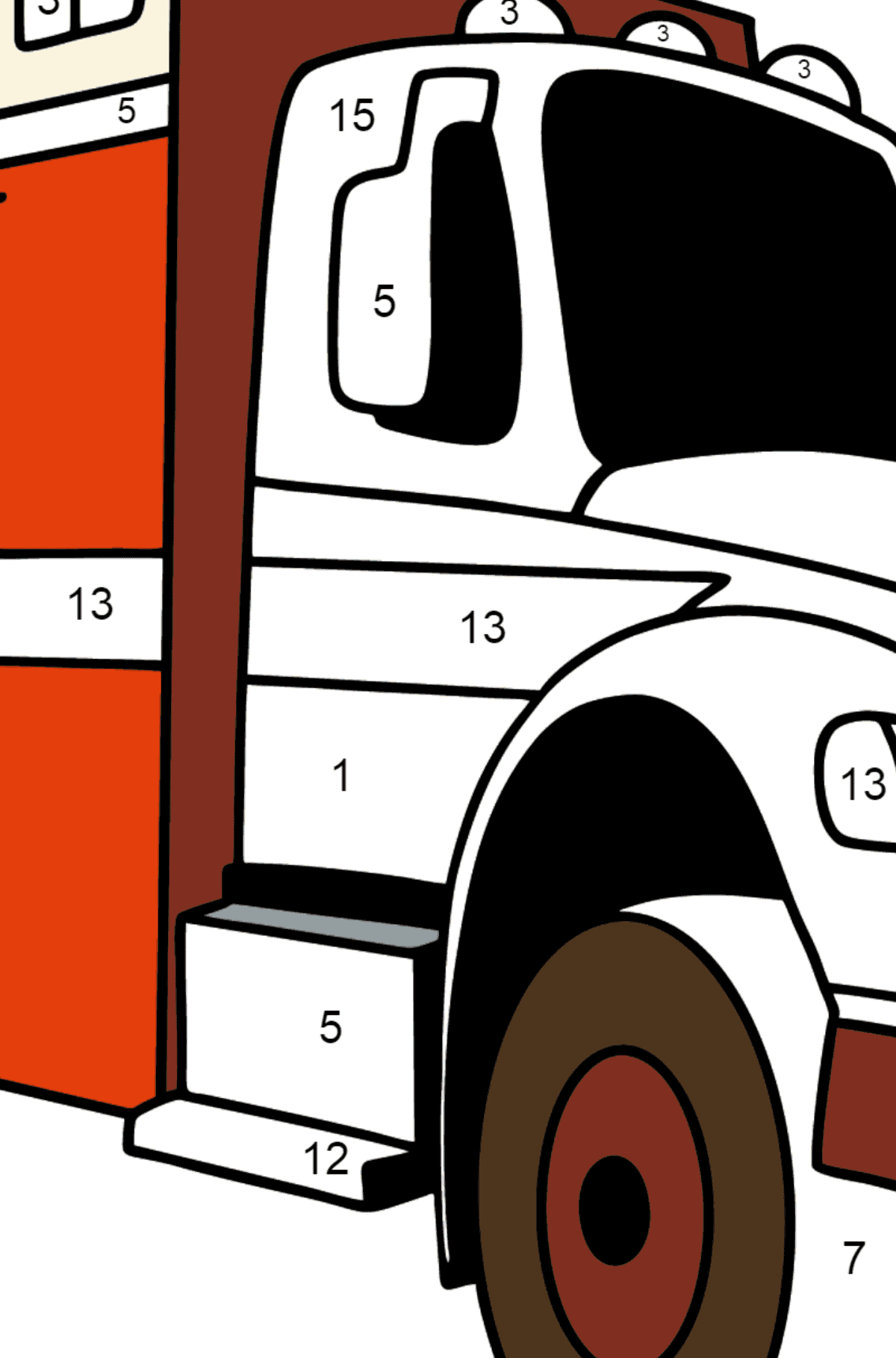 Fire Truck in Argentina coloring page - Coloring by Numbers for Kids