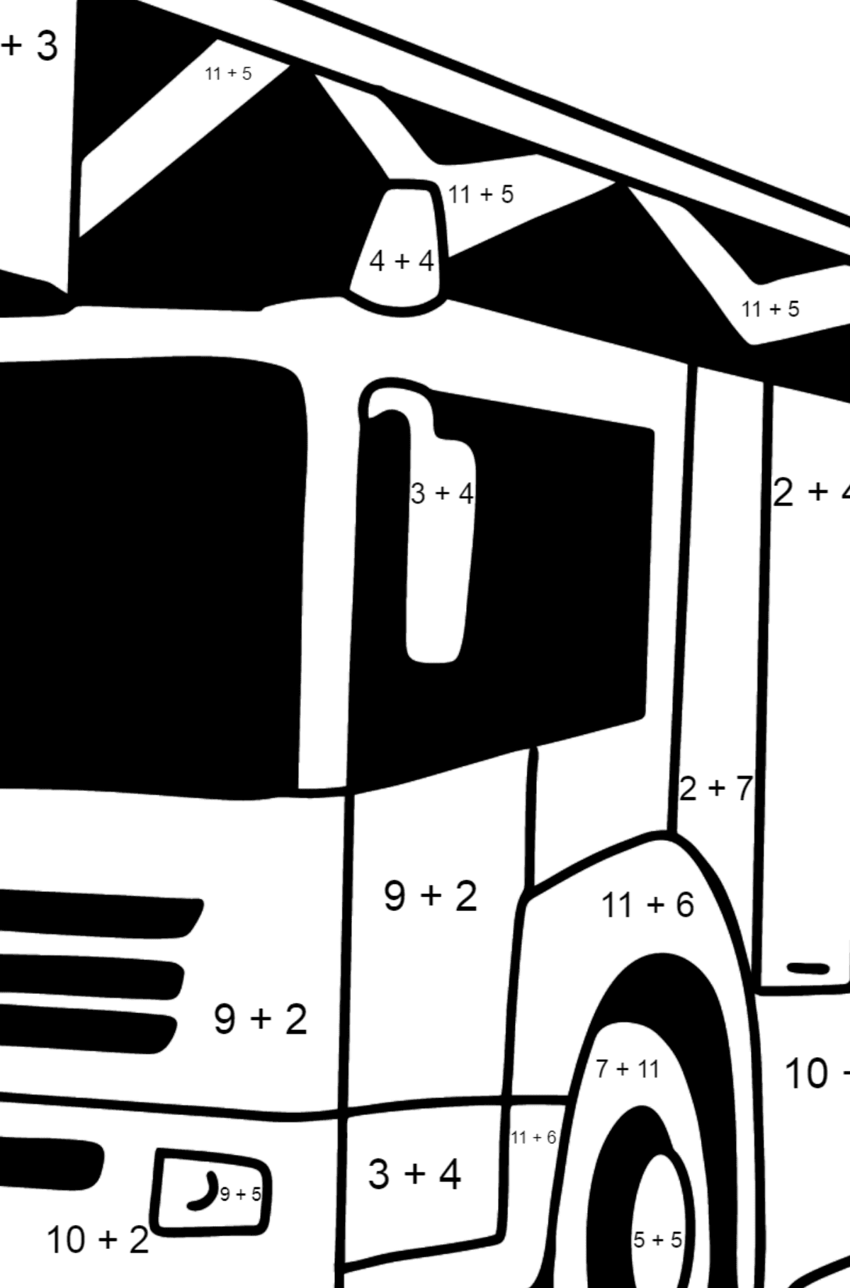 Fire Truck in Germany coloring page - Math Coloring - Addition for Kids