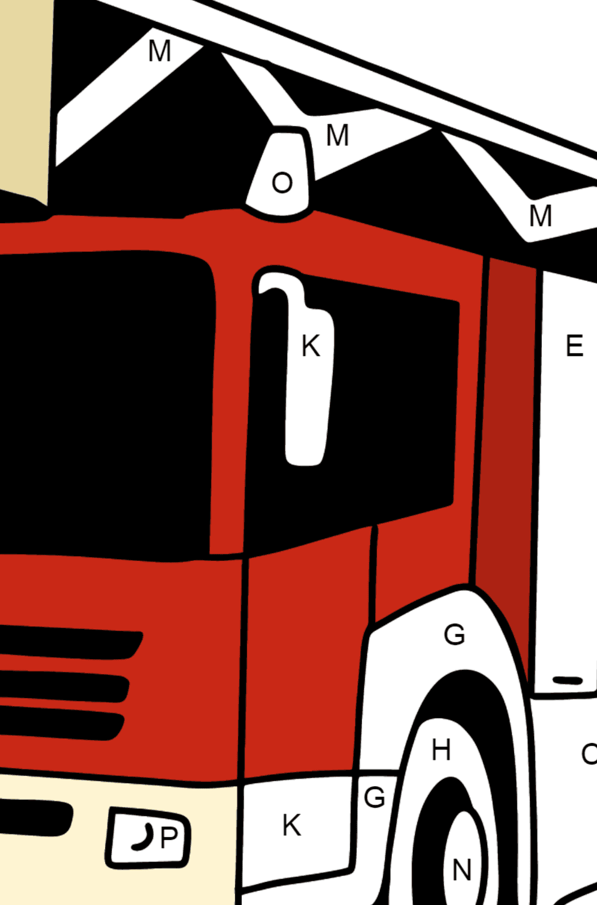 Fire Truck in Germany coloring page - Coloring by Letters for Kids
