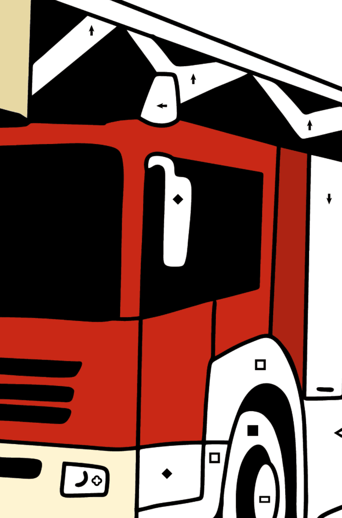 Fire Truck in Germany coloring page - Coloring by Symbols and Geometric Shapes for Kids