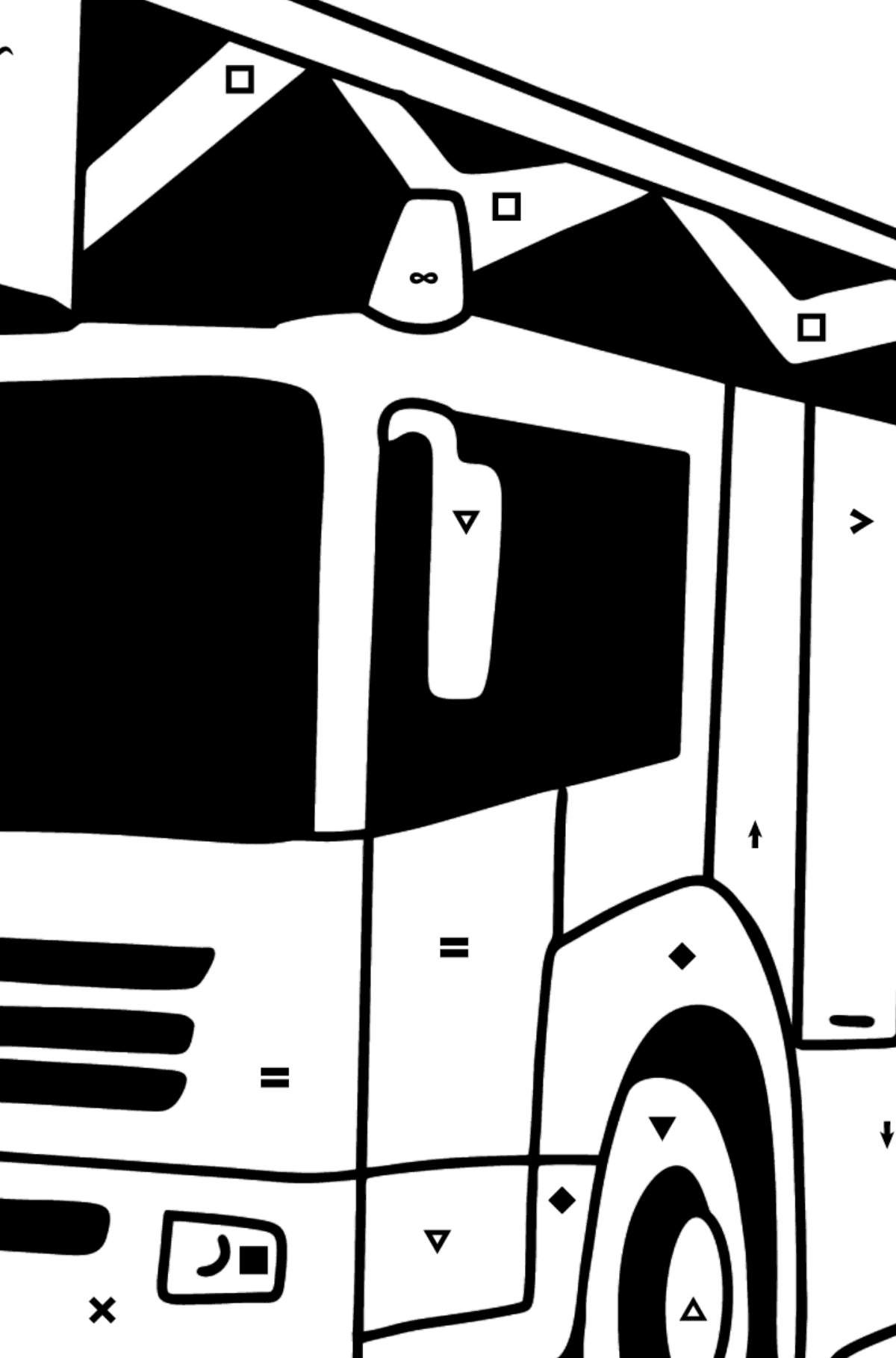 Fire Truck in Germany coloring page - Coloring by Symbols for Kids