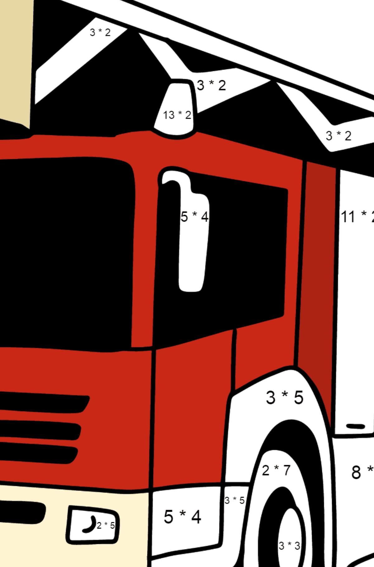 Раскраска Пожарная машина в Германия - Математическая Раскраска - Умножение для Детей