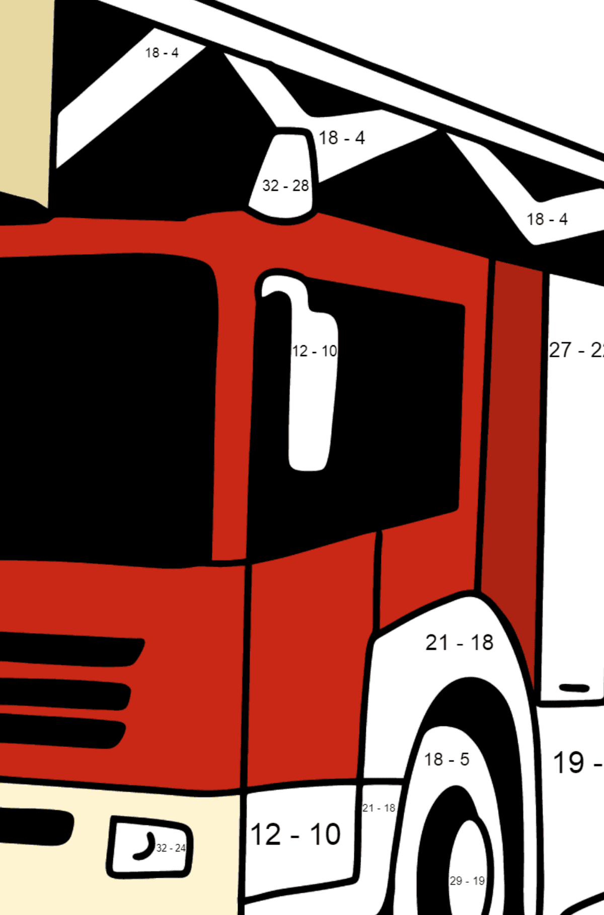 Fire Truck in Germany coloring page - Math Coloring - Subtraction for Kids