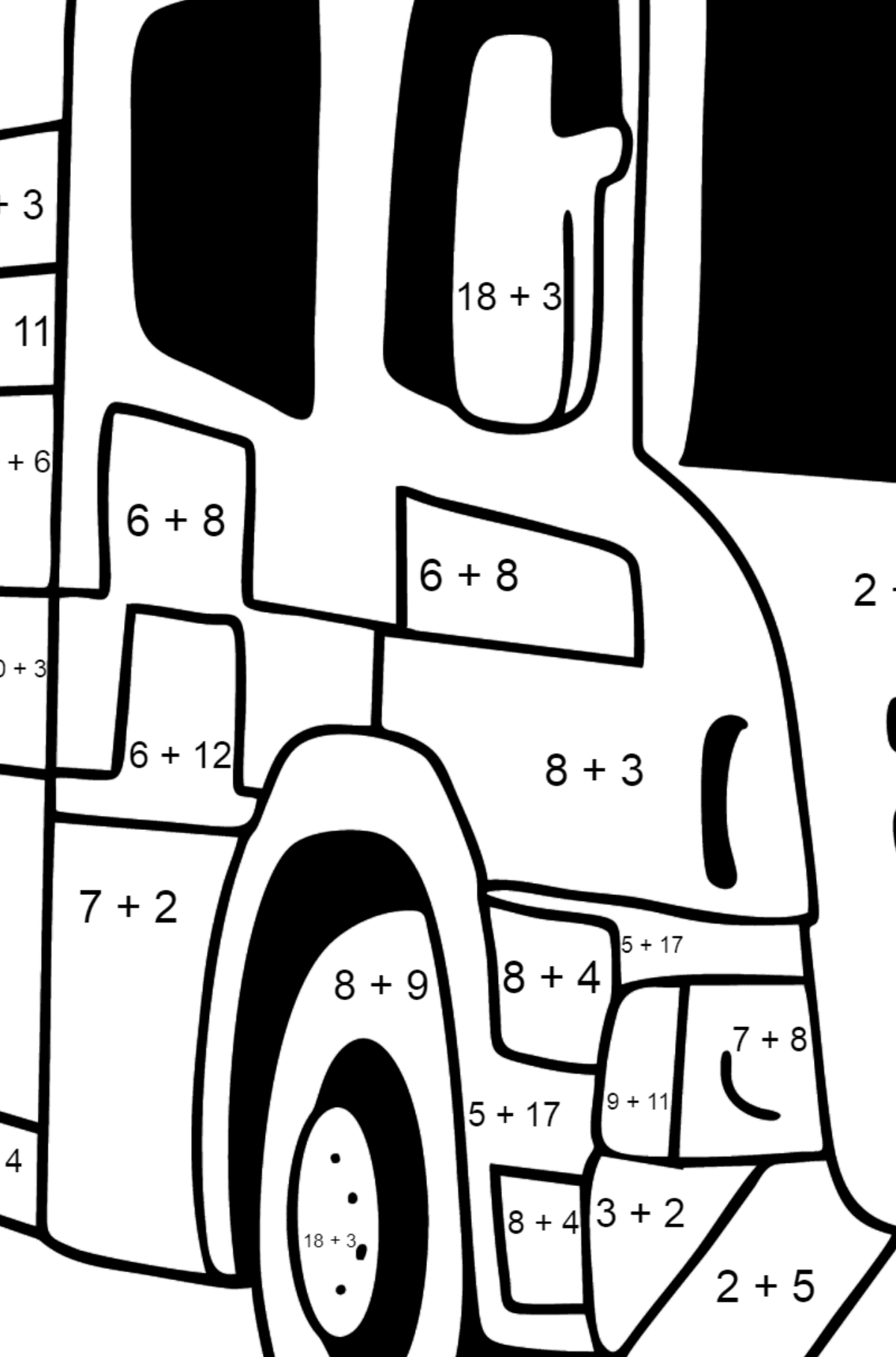 Fire Truck in Great Britain coloring page - Math Coloring - Addition for Kids