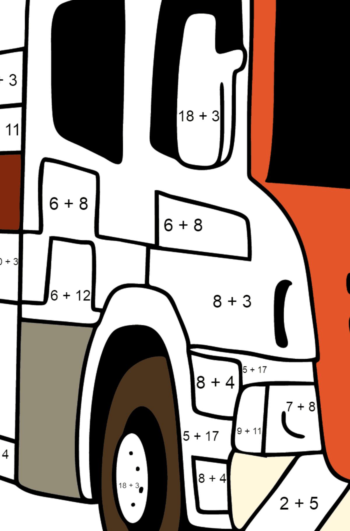 Раскраска Пожарная машина в Великобритании - Математическая Раскраска - Сложение для Детей