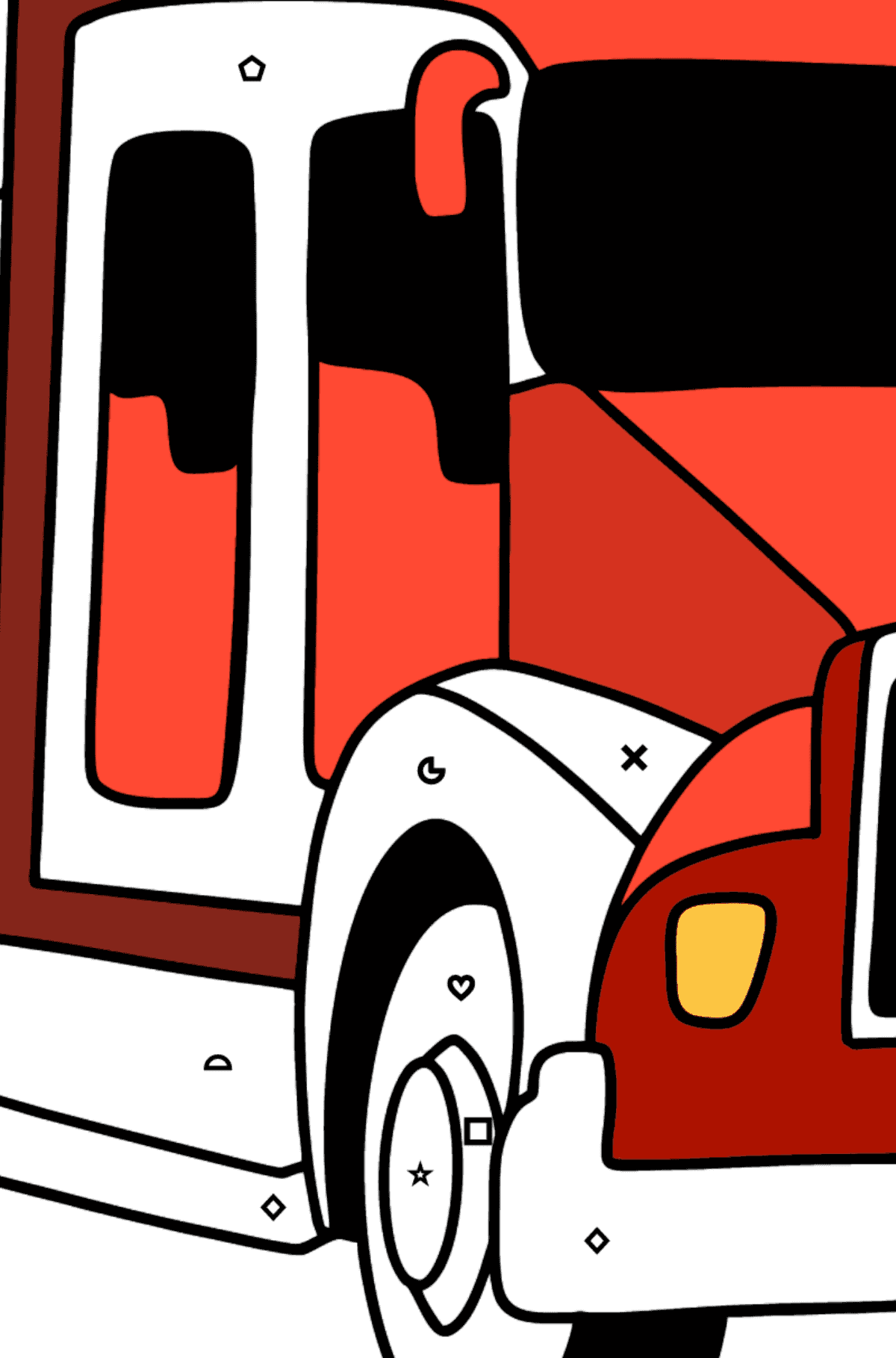 USA Fire Truck coloring page - Coloring by Symbols and Geometric Shapes for Kids