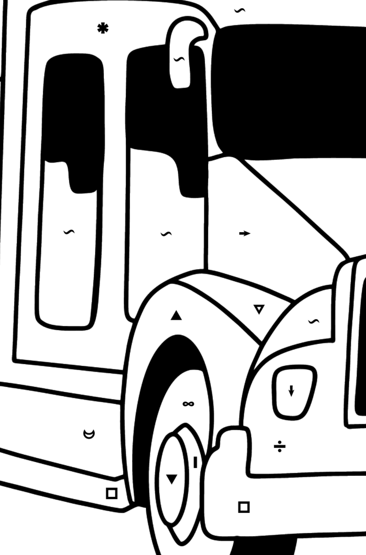 USA Fire Truck coloring page - Coloring by Symbols for Kids